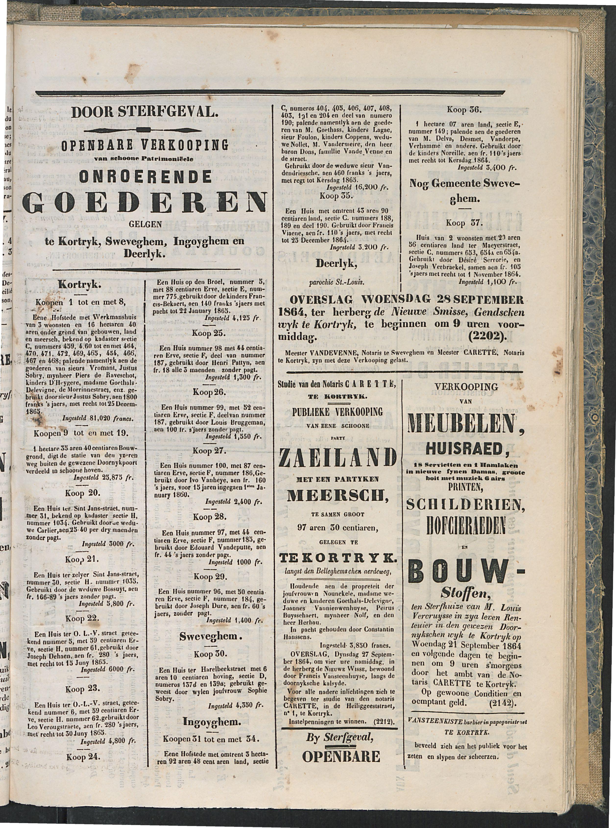 L'echo De Courtrai 1864-09-18 p3