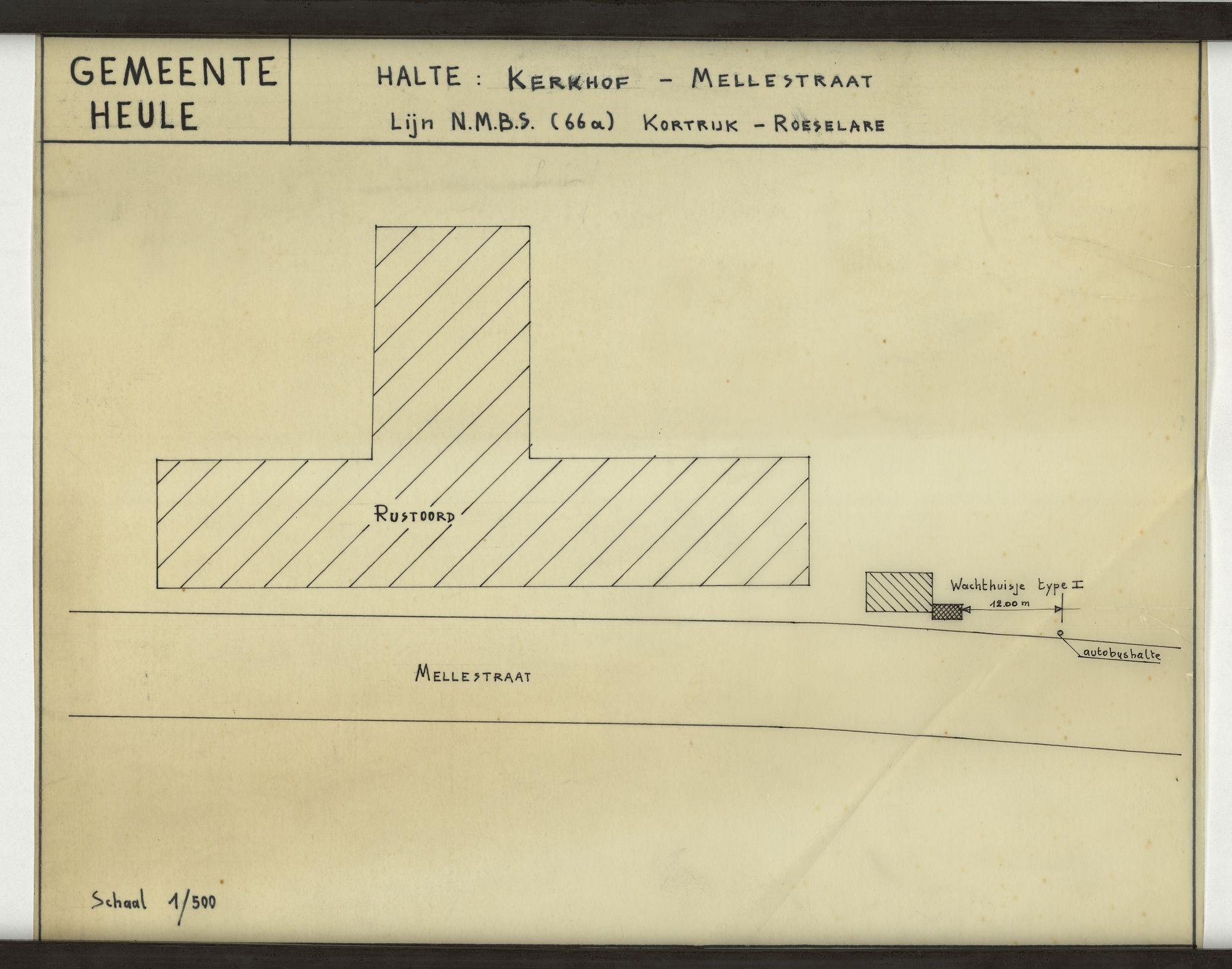 Plan van de bushalte Kerkhof-Mellestraat op de lijn Kortrijk-Roeselare te Heule, 2de helft 20ste eeuw