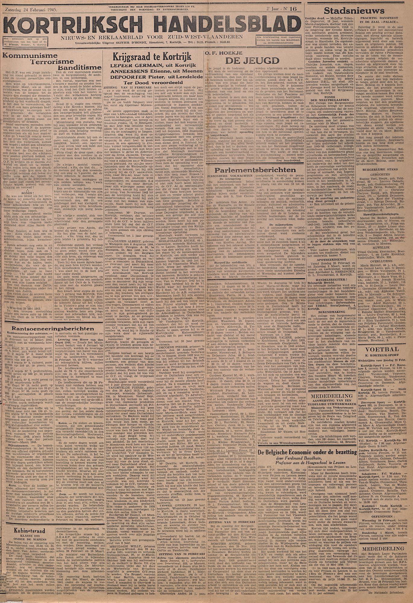 Kortrijksch Handelsblad 24 februari 1945 Nr16 p1