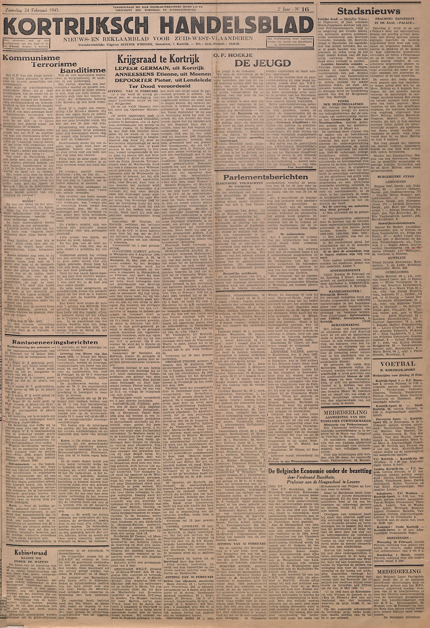 Kortrijks Handelsblad 24 februari 1945 Nr16 p1