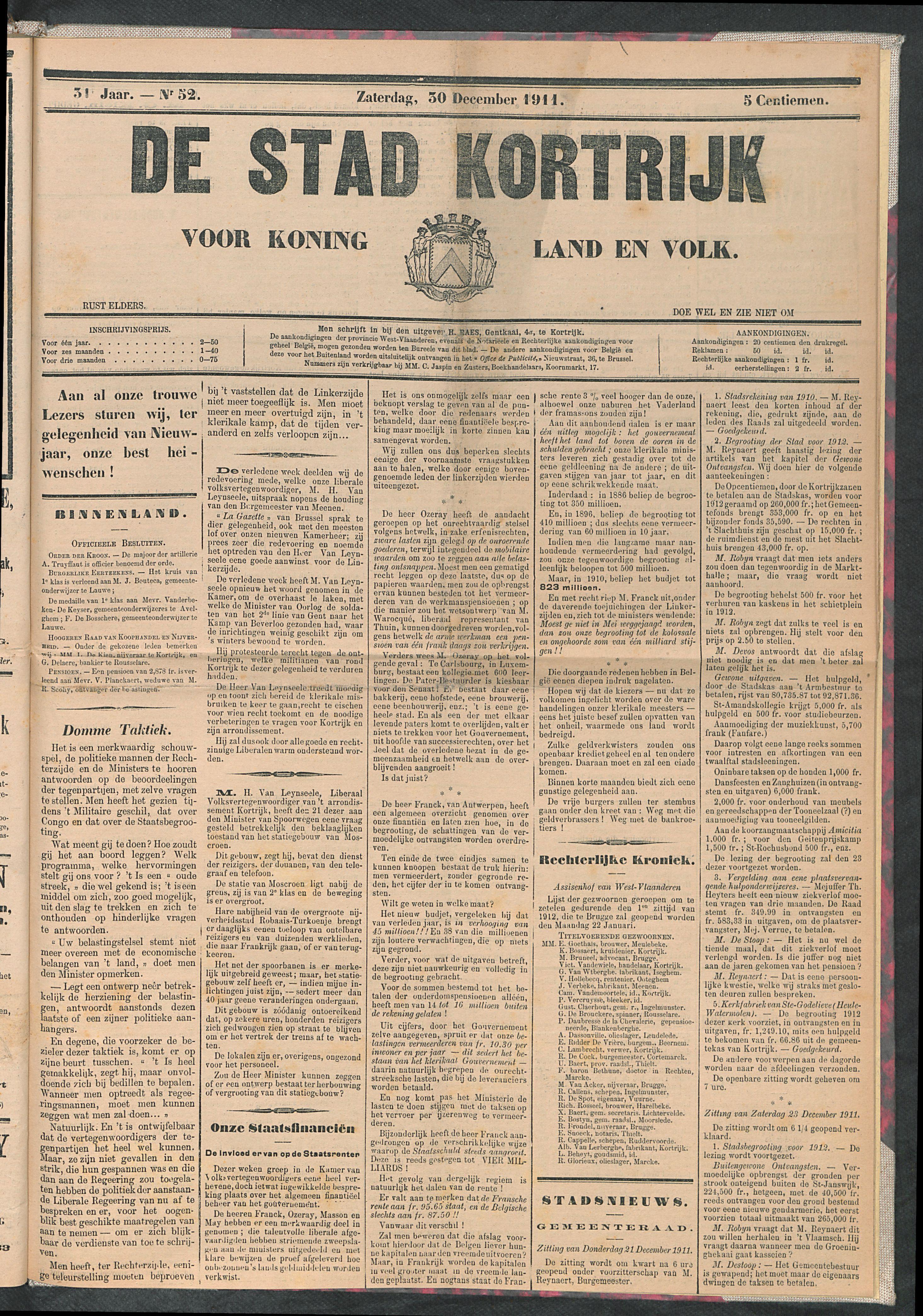 De Stad Kortrijk 1911-12-30 p1
