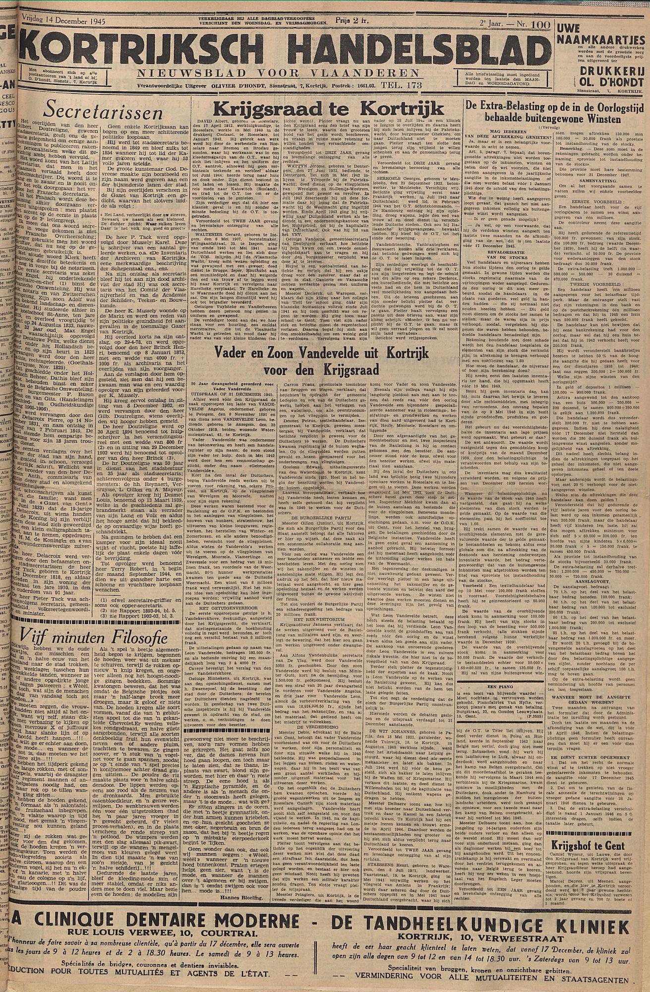 Kortrijksch Handelsblad 14 december 1945 Nr100 p1