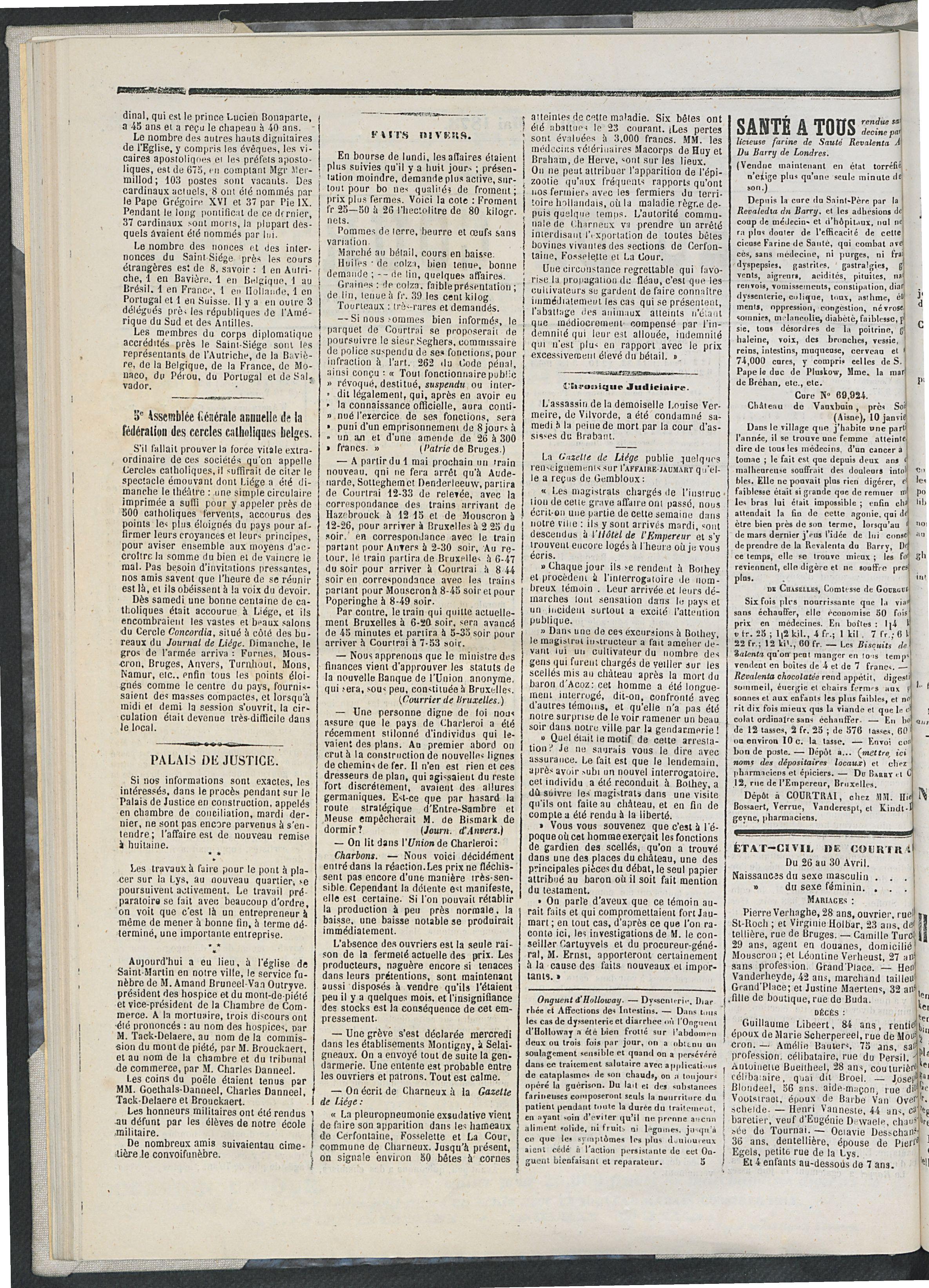 L'echo De Courtrai 1873-05-01 p2