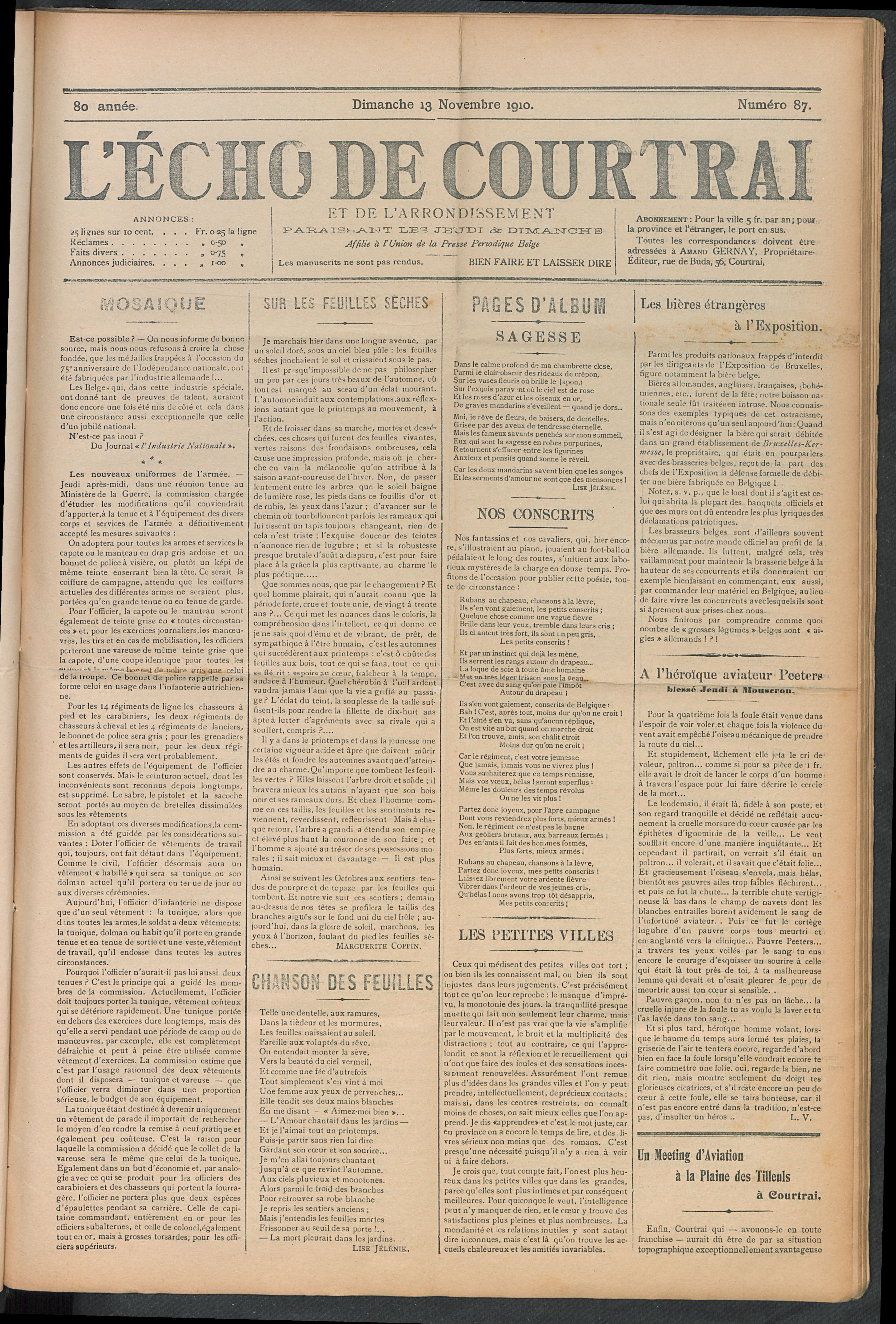 L'echo De Courtrai 1910-11-13 p1