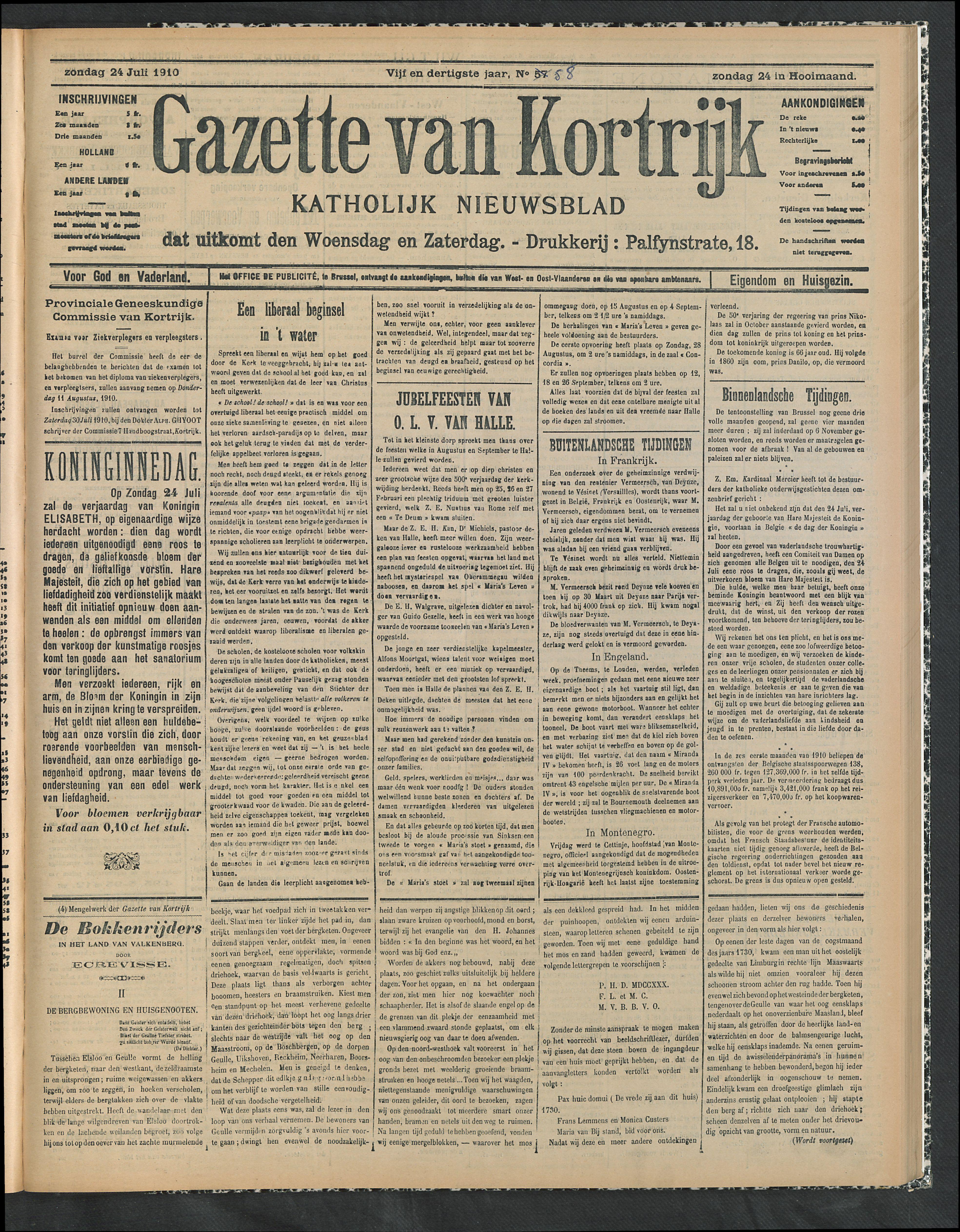 Gazette Van Kortrijk 1910-07-24 p1