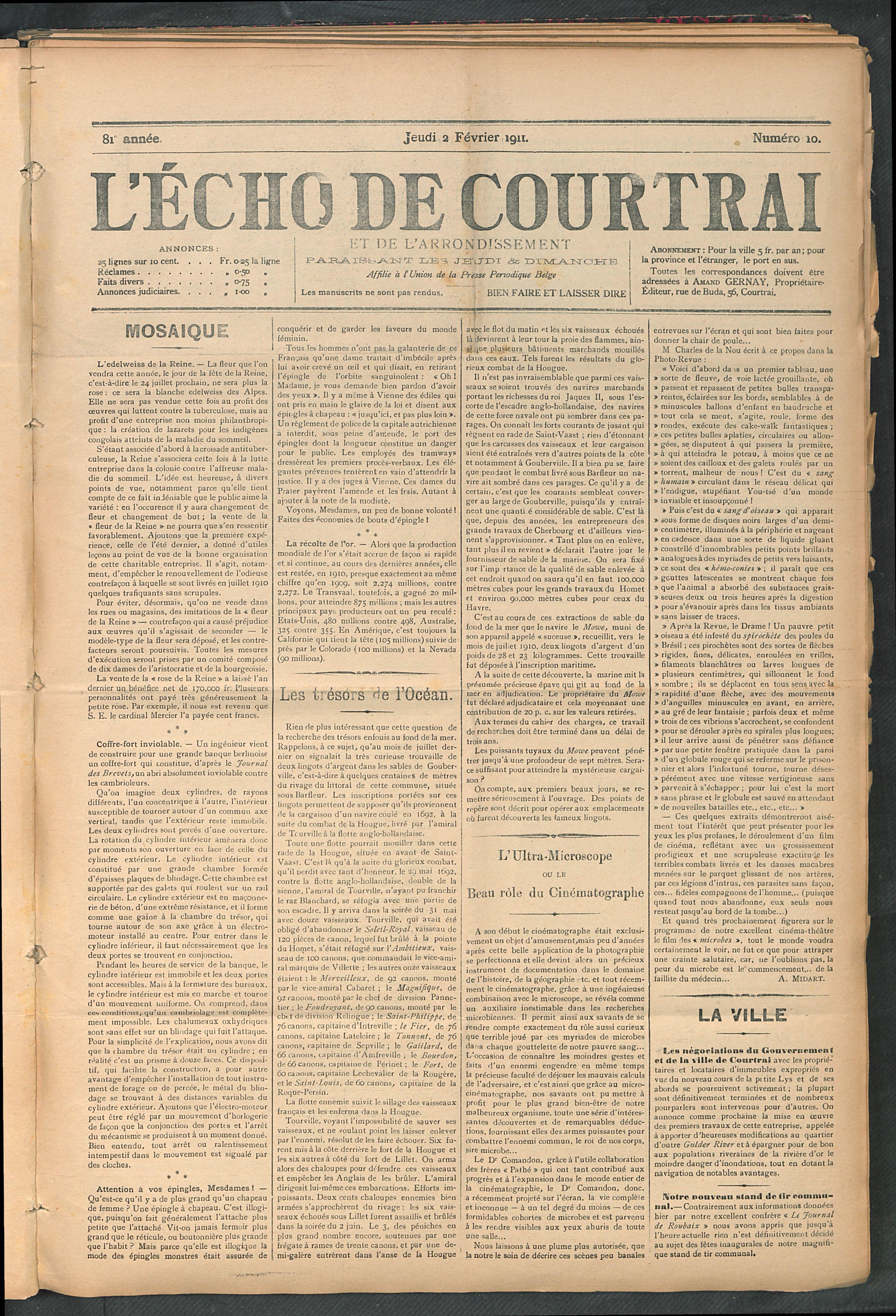 L'echo De Courtrai 1911-02-02 p1