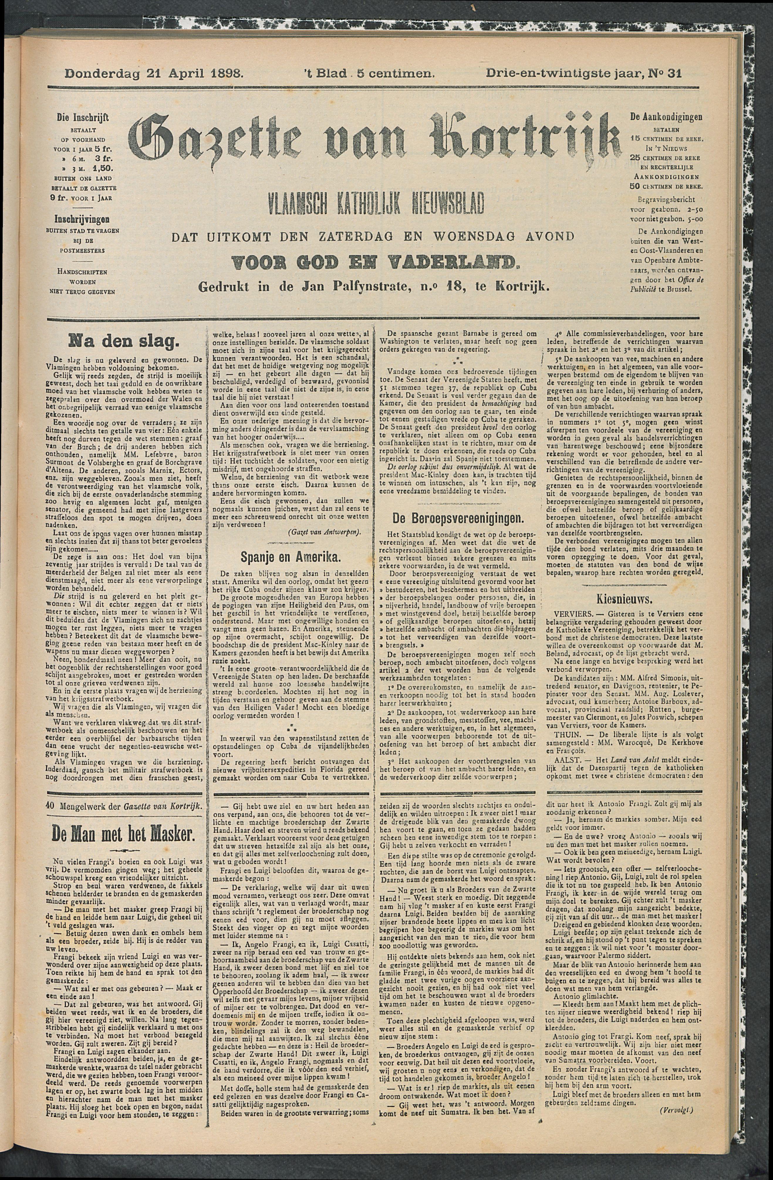 Gazette Van Kortrijk 1898-04-21 p1