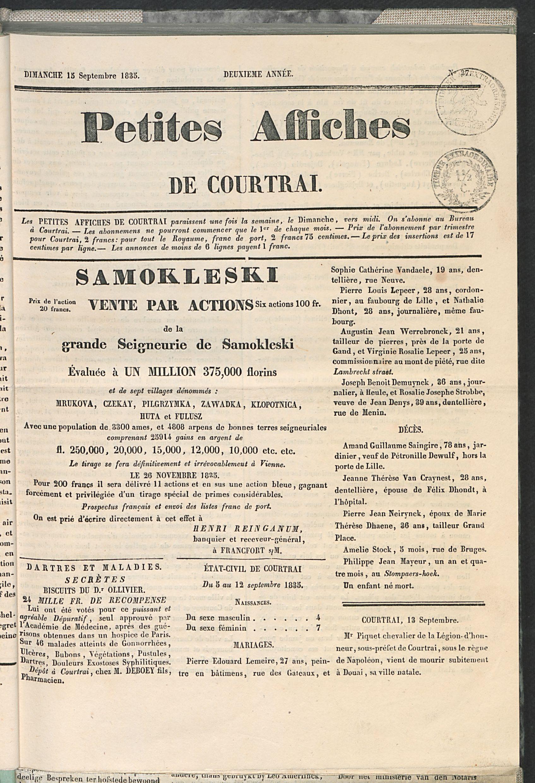 Petites Affiches De Courtrai 1835-09-15 p1