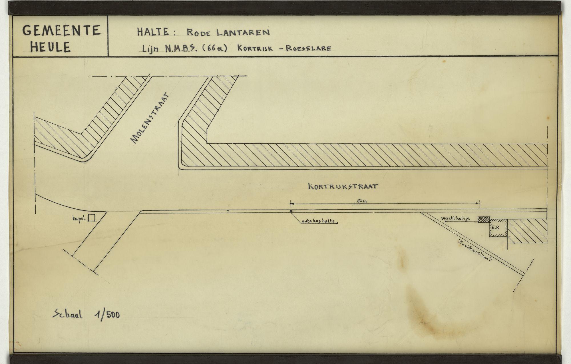 Plan van de bushalte Rode Lantaren op de lijn Kortrijk-Roeselare te Heule, 2de helft 20ste eeuw