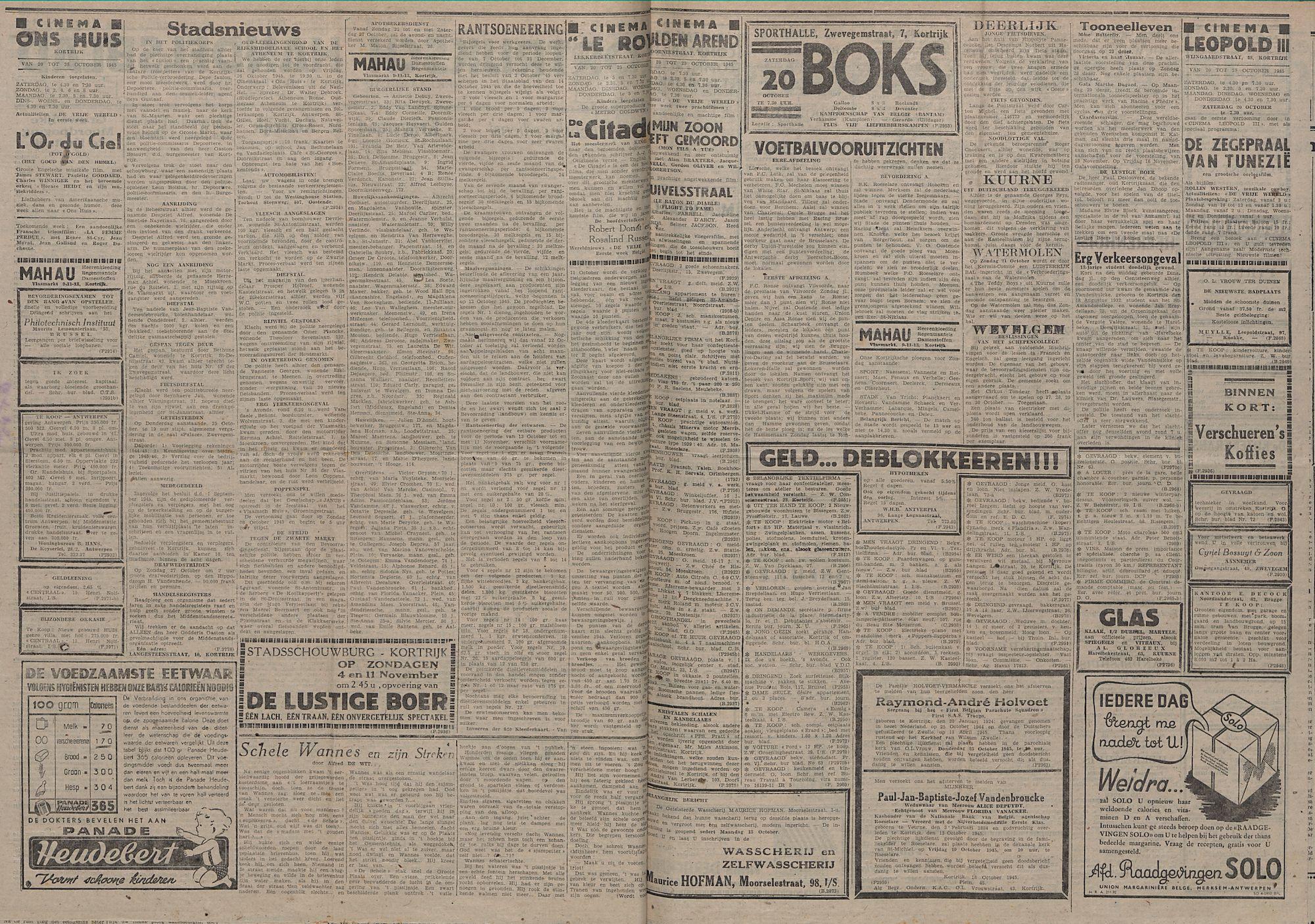 Kortrijksch Handelsblad 19 october 1945 Nr84 p2 en 3