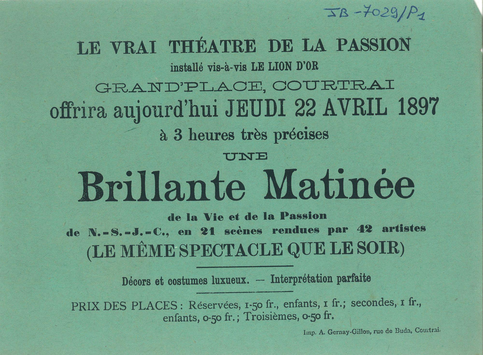 Paasfoor 1897: Theater der Passie