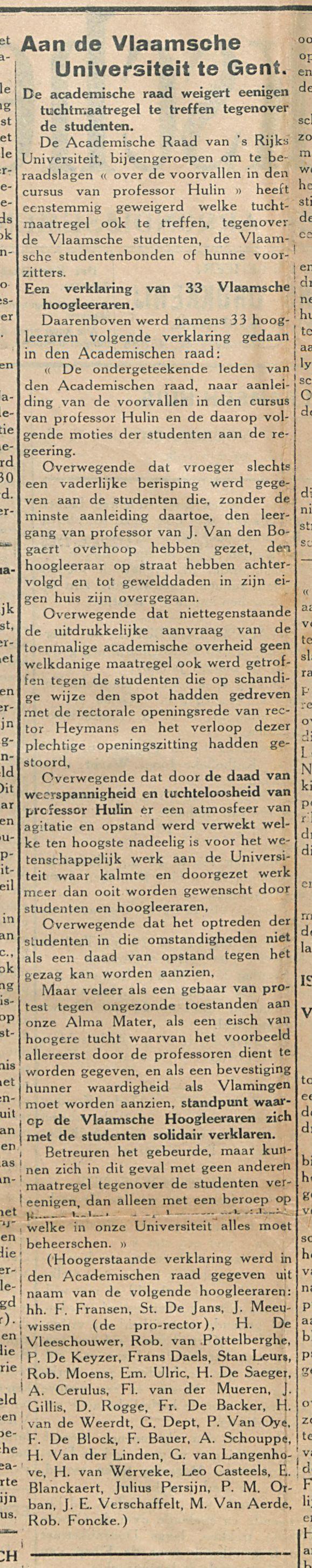 Aan de Vlaamsche Universiteit te Gent