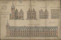 Afbeelding en opstaande plattegronden van de Grote Hallen te Kortrijk, opgemaakt door J.B. Casaer, L. DEGEYNE, e.a., ca. 1820-1952