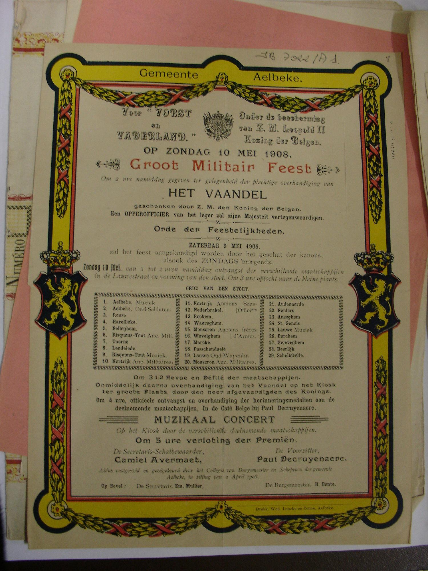 Aalbeke militair feest 1908