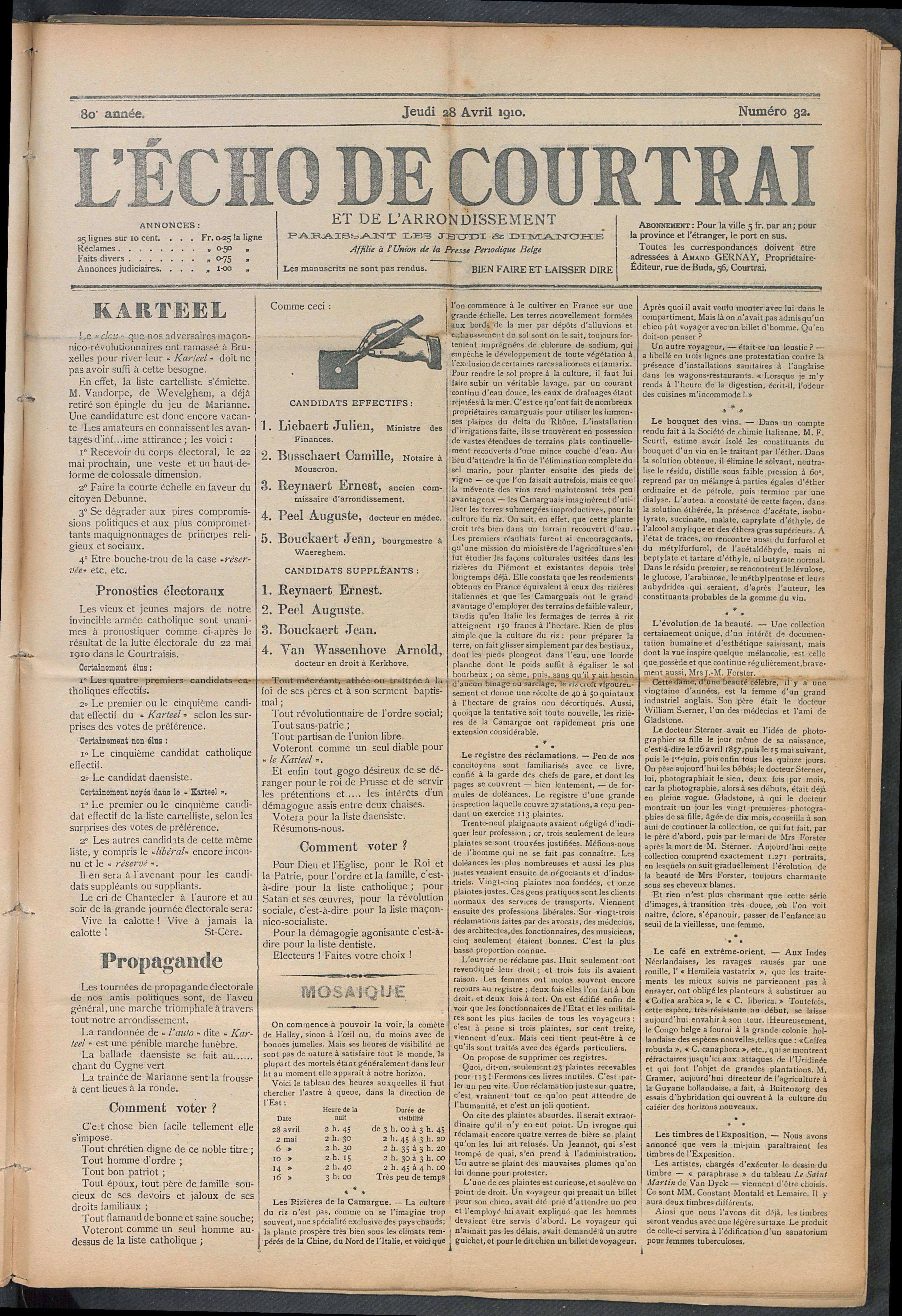 L'echo De Courtrai 1910-04-28 p1