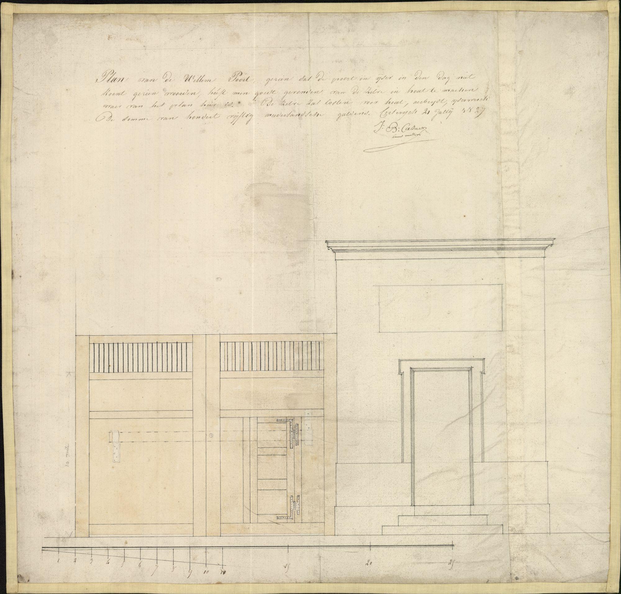 Bouwplan van de Willemspoort te Kortrijk, opgemaakt door J.B. Casaer, 1827