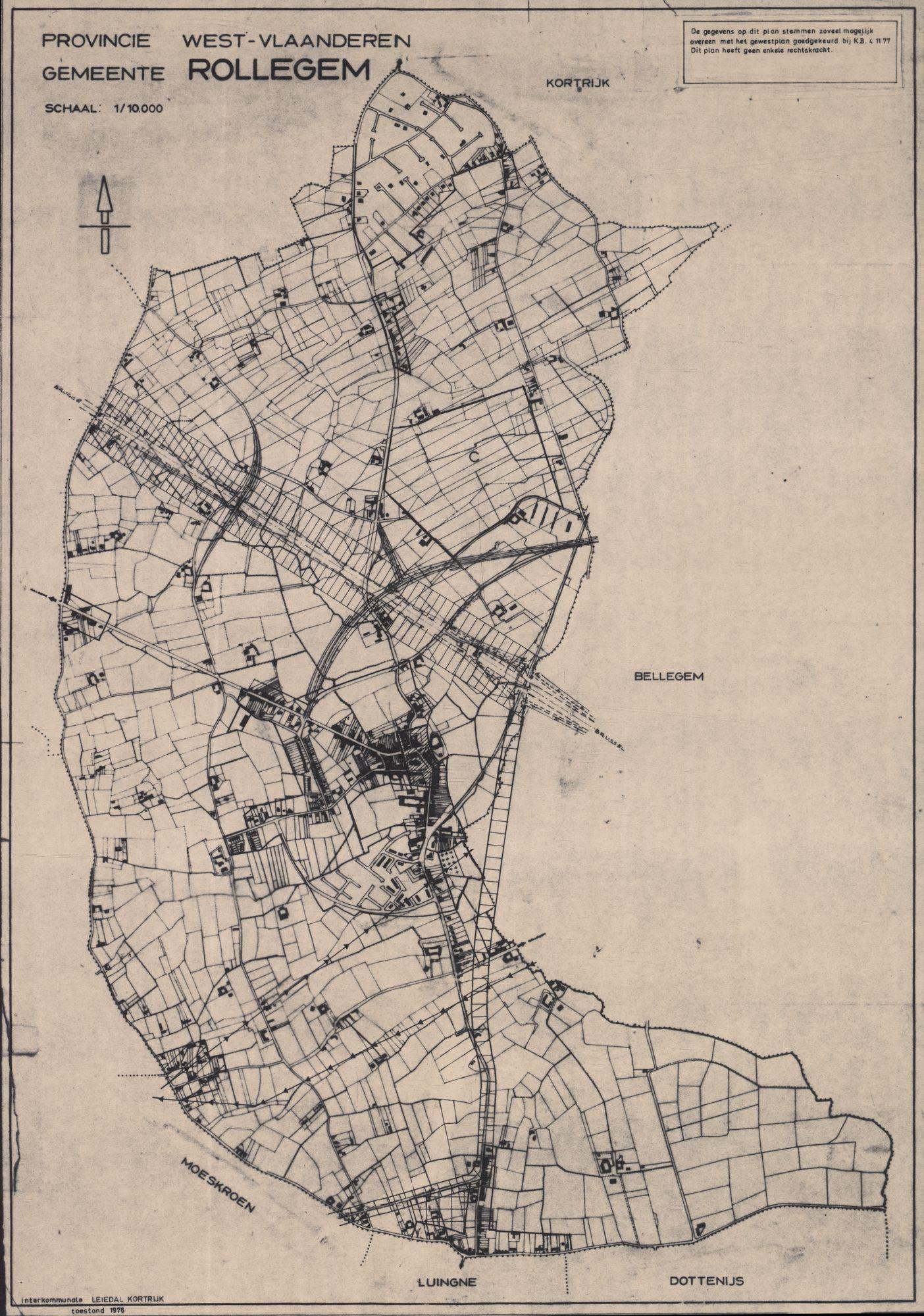 Kaarten van Heule en Omgeving m.b.t. het gewestplan, 1977