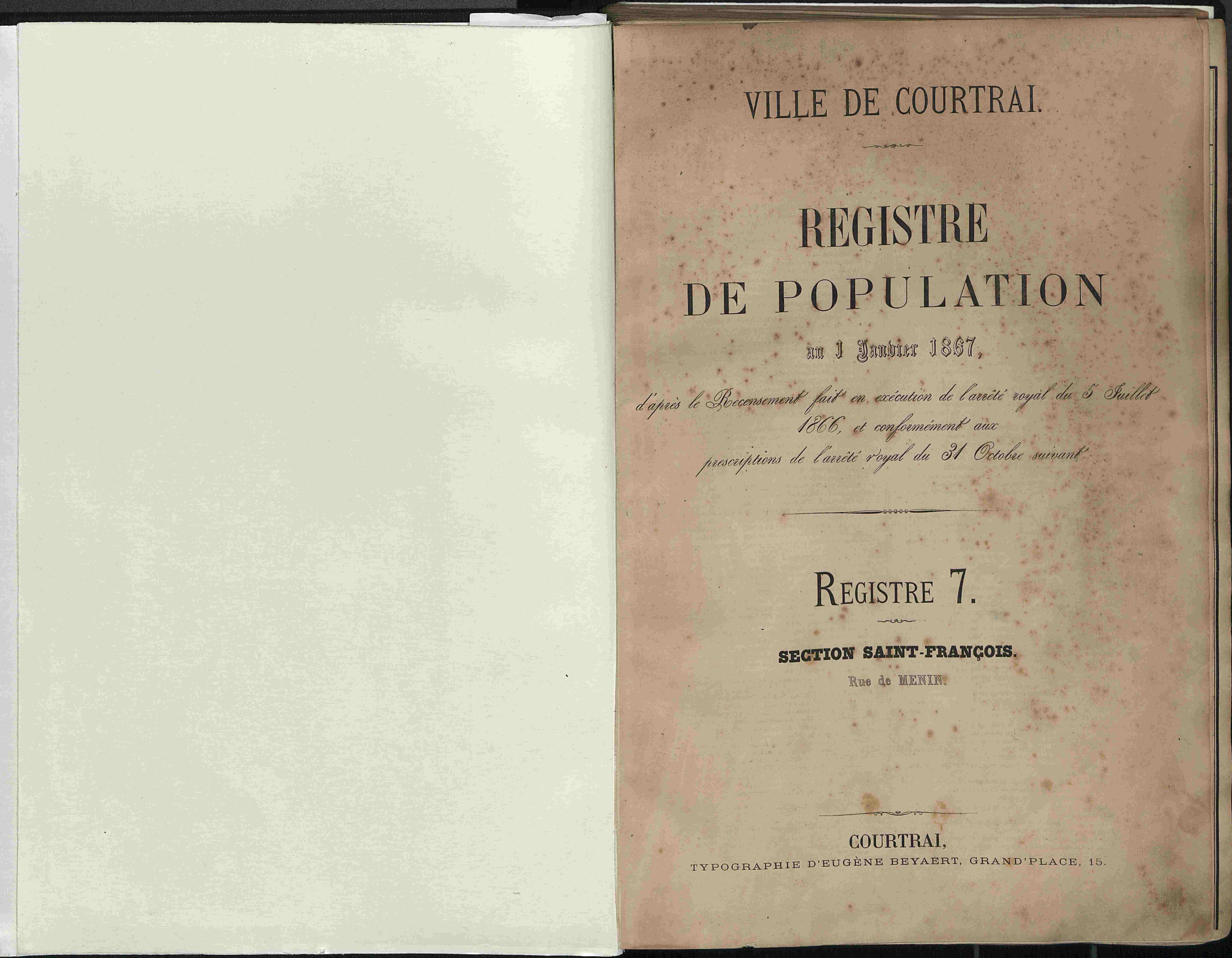 Bevolkingsregister Kortrijk 1866 boek 7