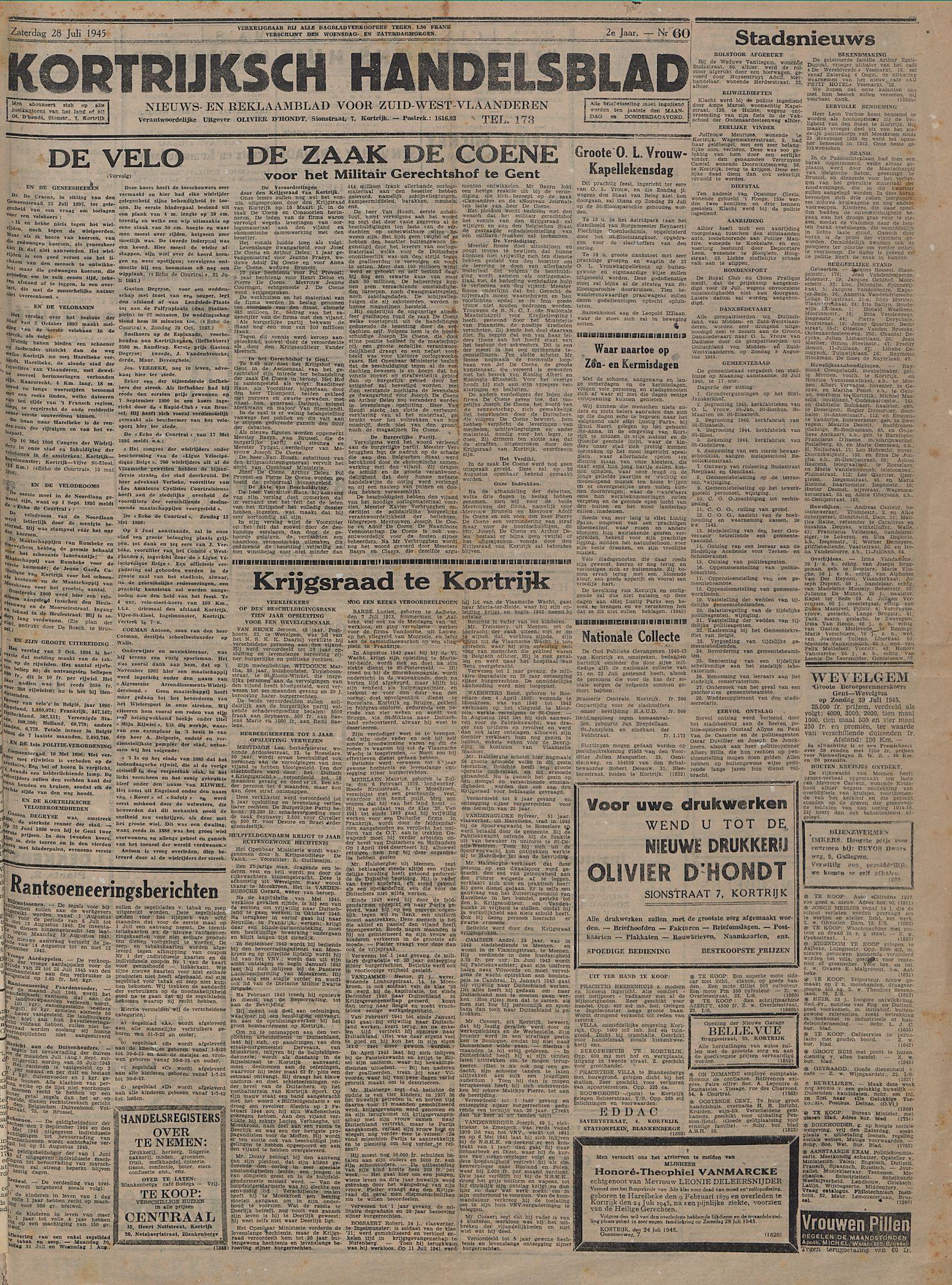 Kortrijksch Handelsblad 28 juli 1945 Nr60 p1
