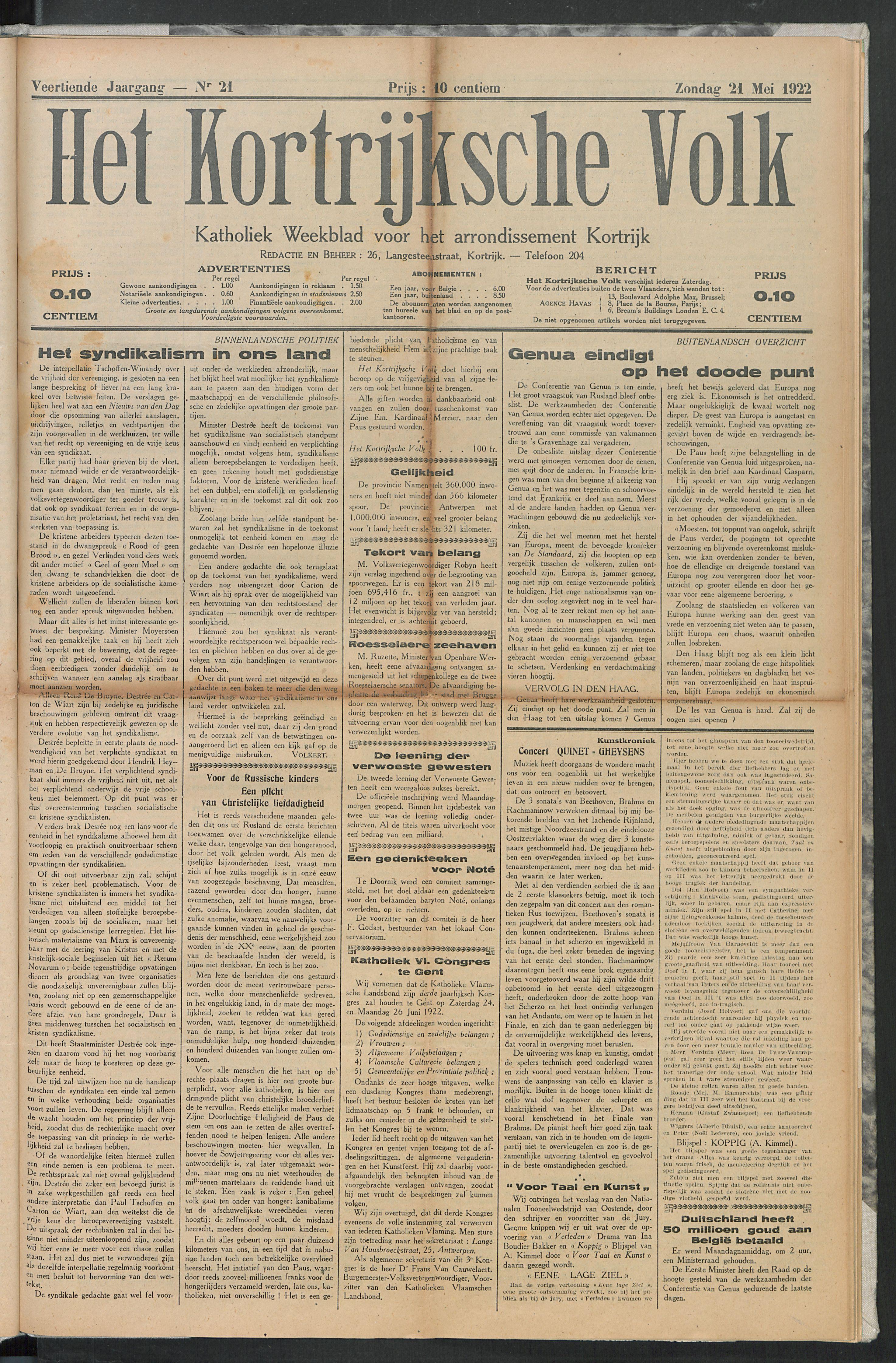 Het Kortrijksche Volk 1922-05-21 p1