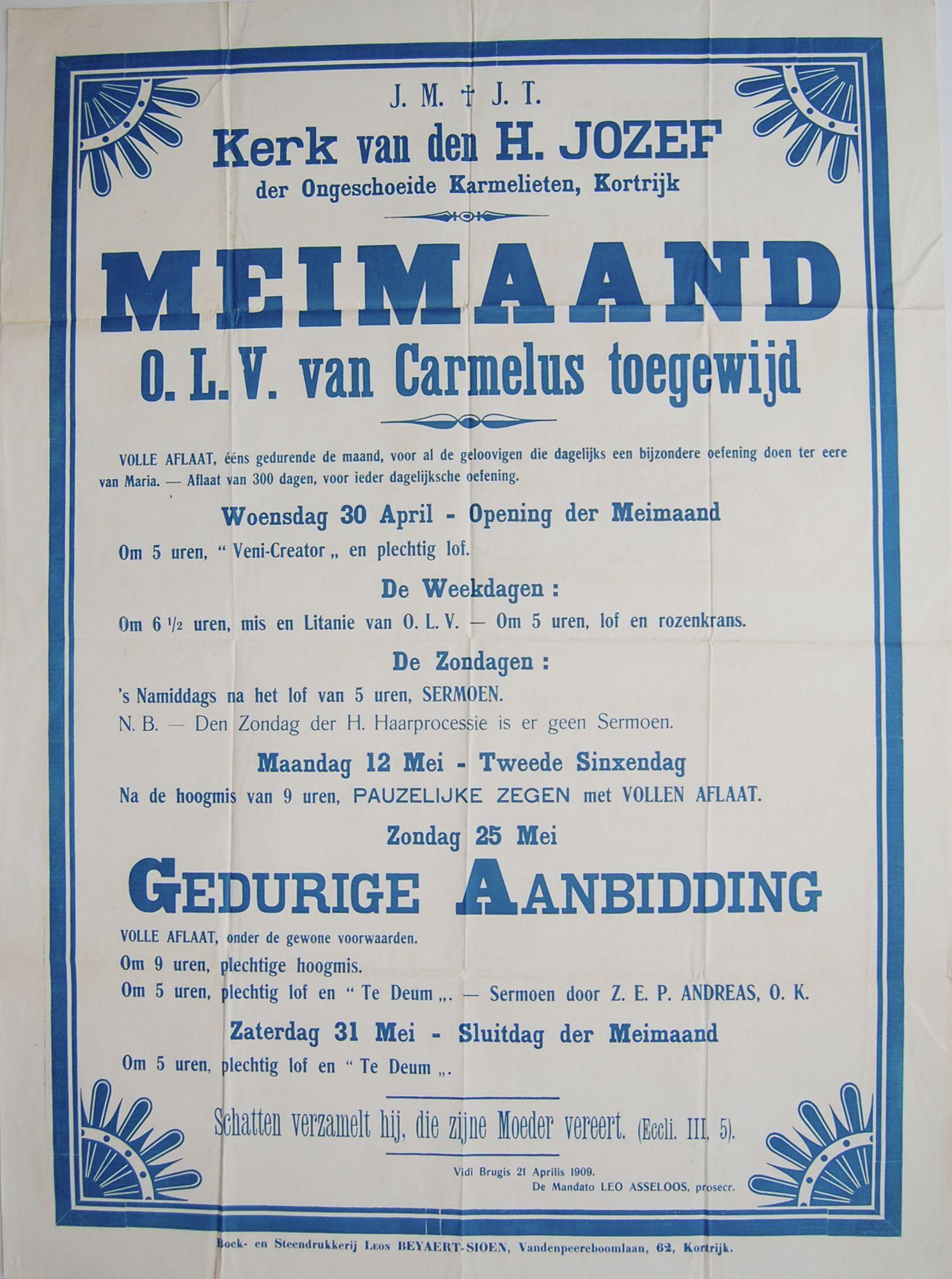 Gebedsdiensten Sint-Jozefskerk 1909