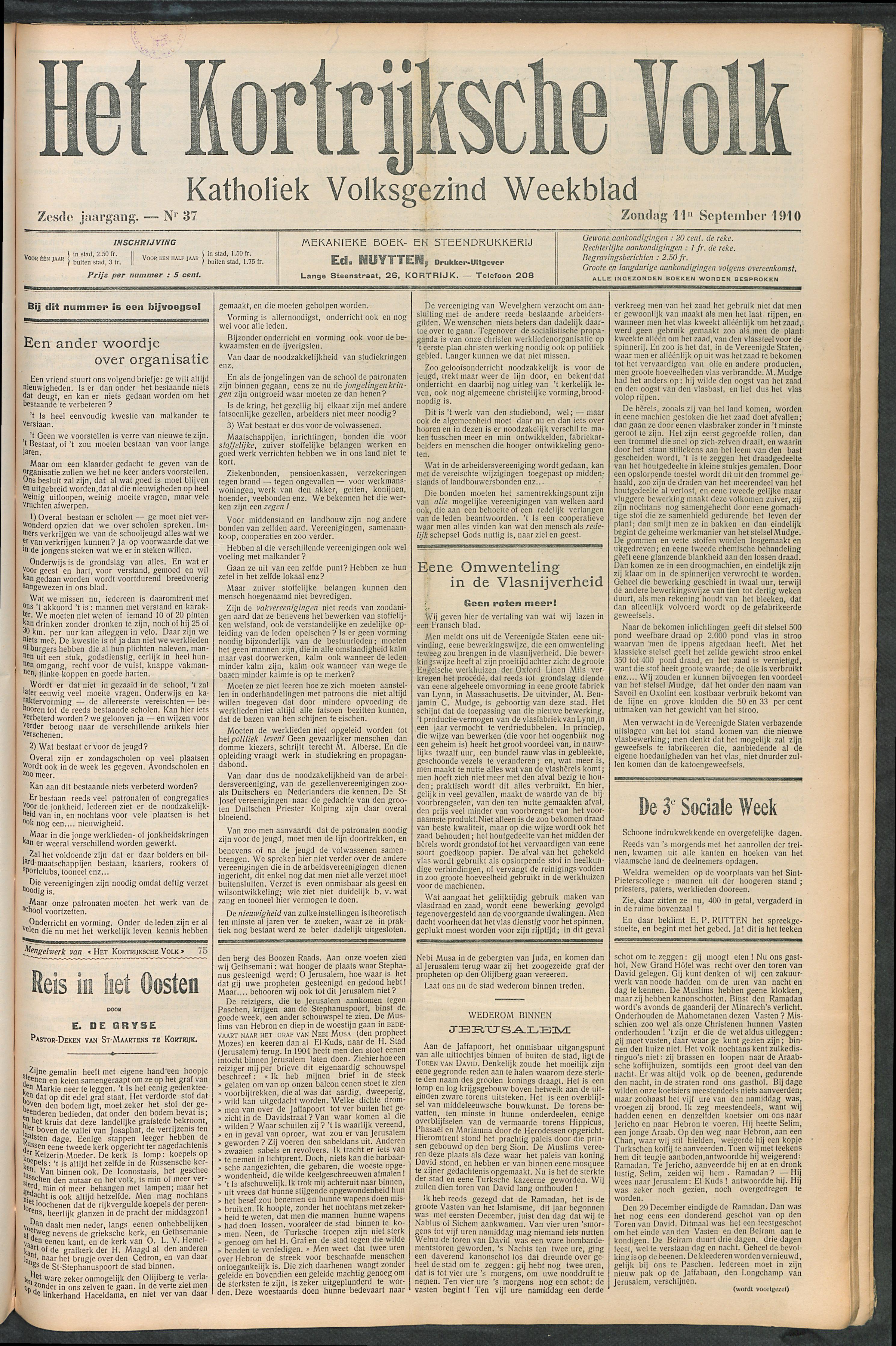 Het Kortrijksche Volk 1910-09-11 p1