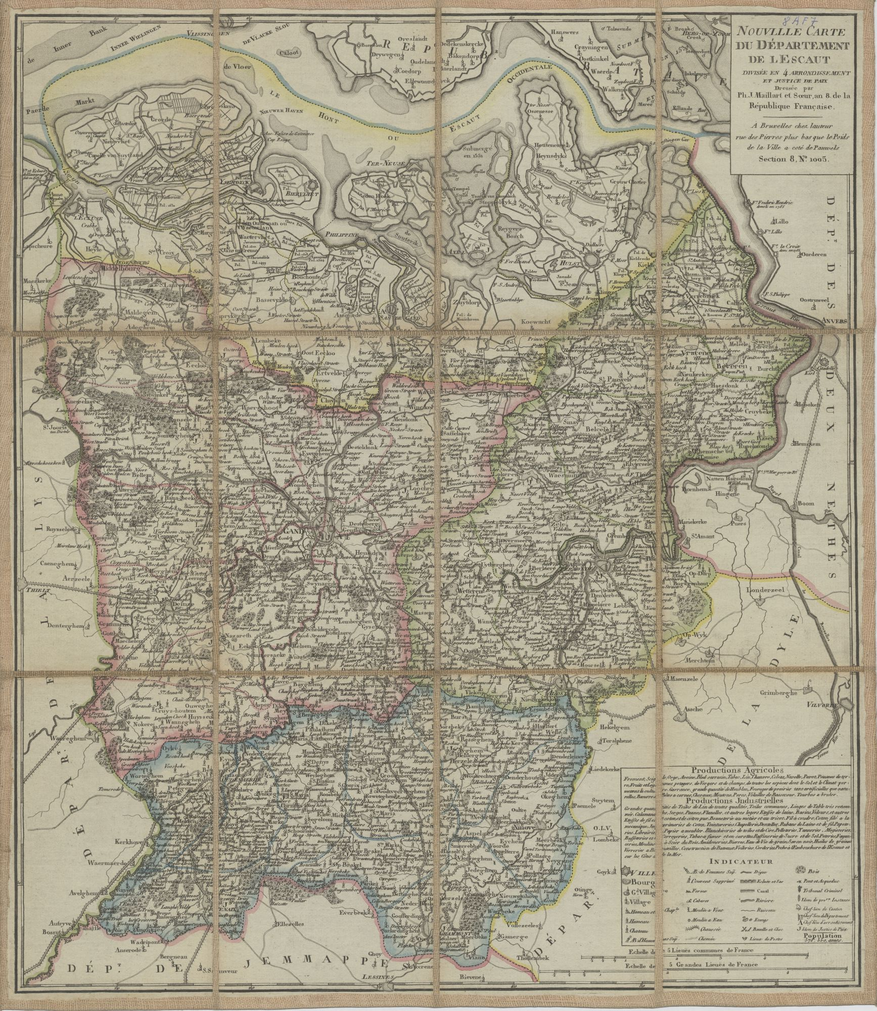 Westflandrica - Oost-Vlaanderen, kaart van het Scheldedepartement
