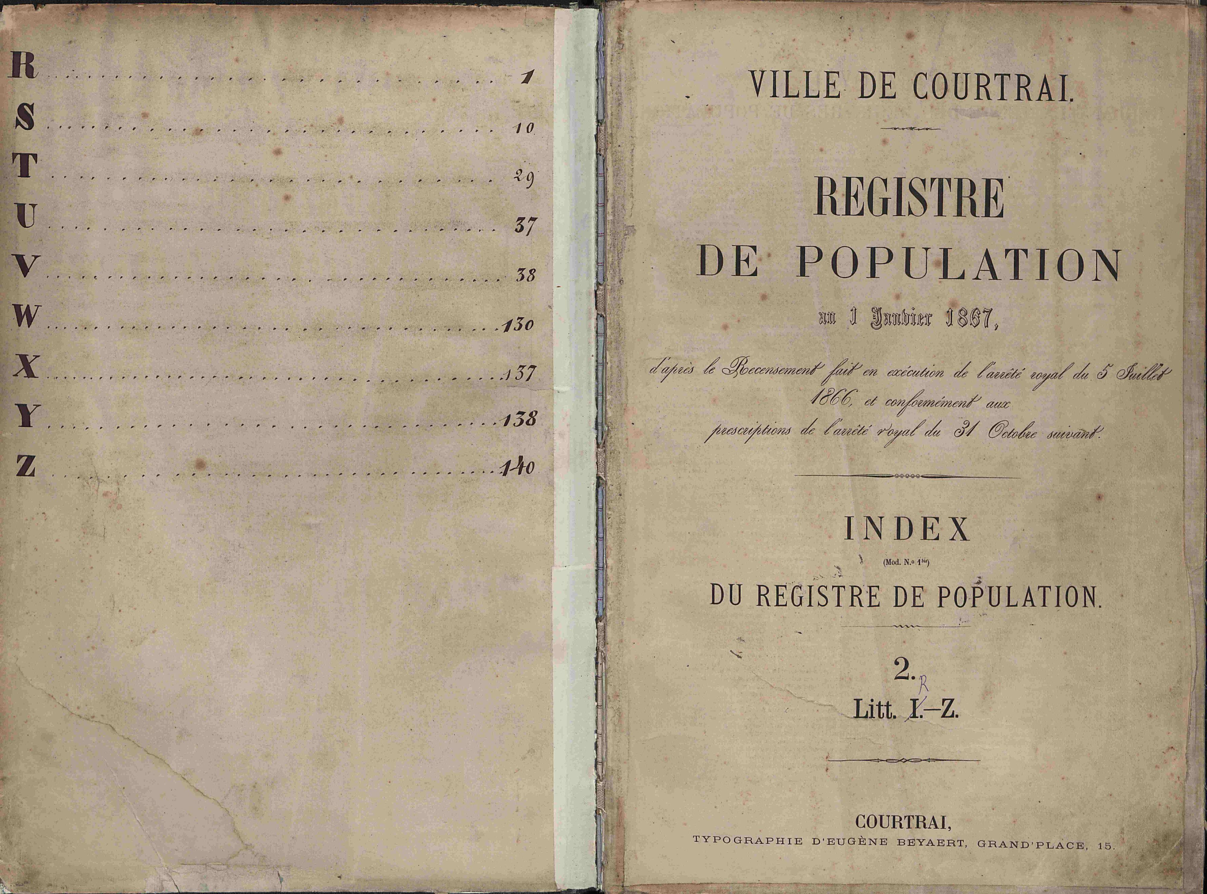 Bevolkingsregister Kortrijk 1866 index R-Z