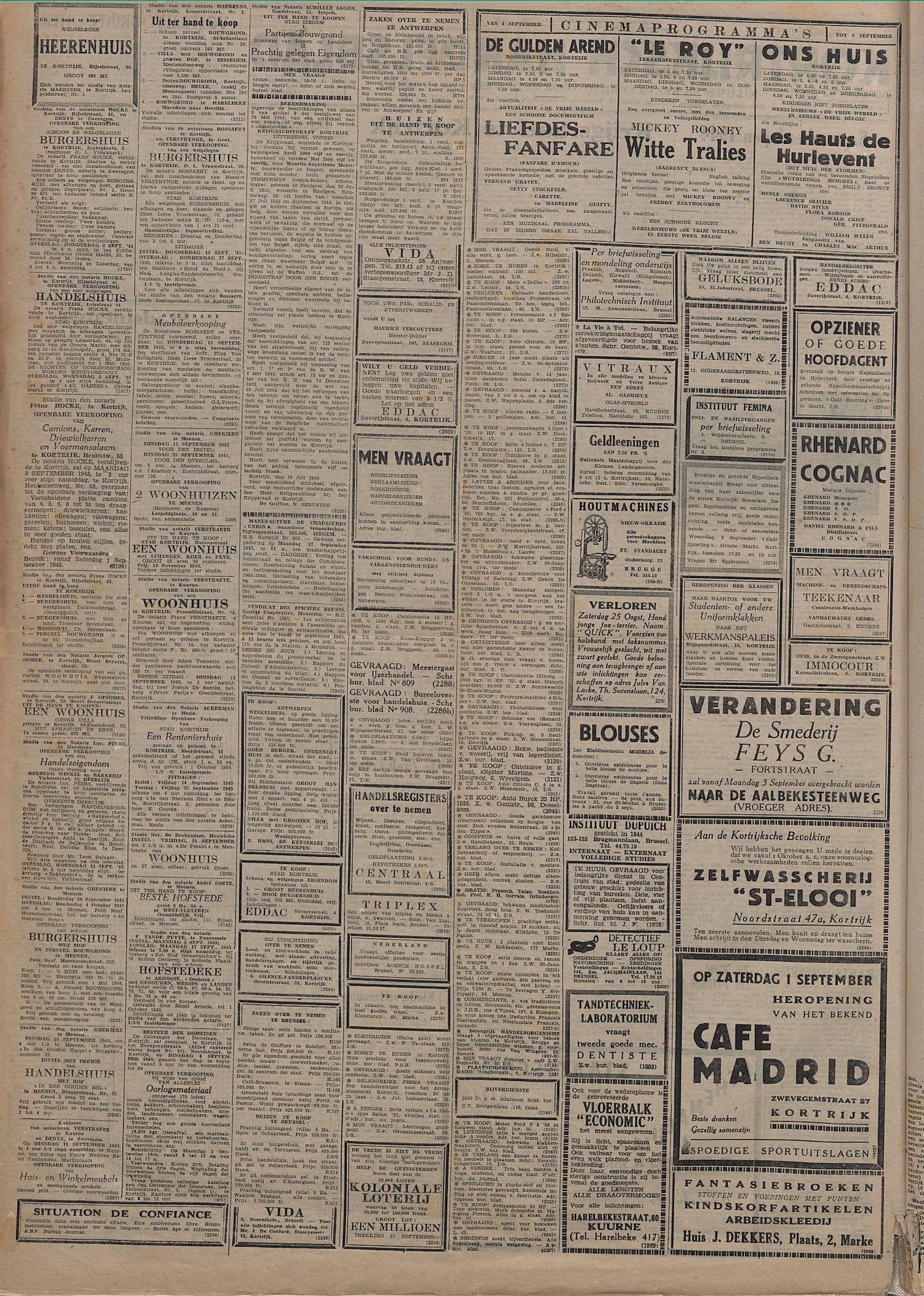 Kortrijksch Handelsblad 1 september 1945 Nr70 p2