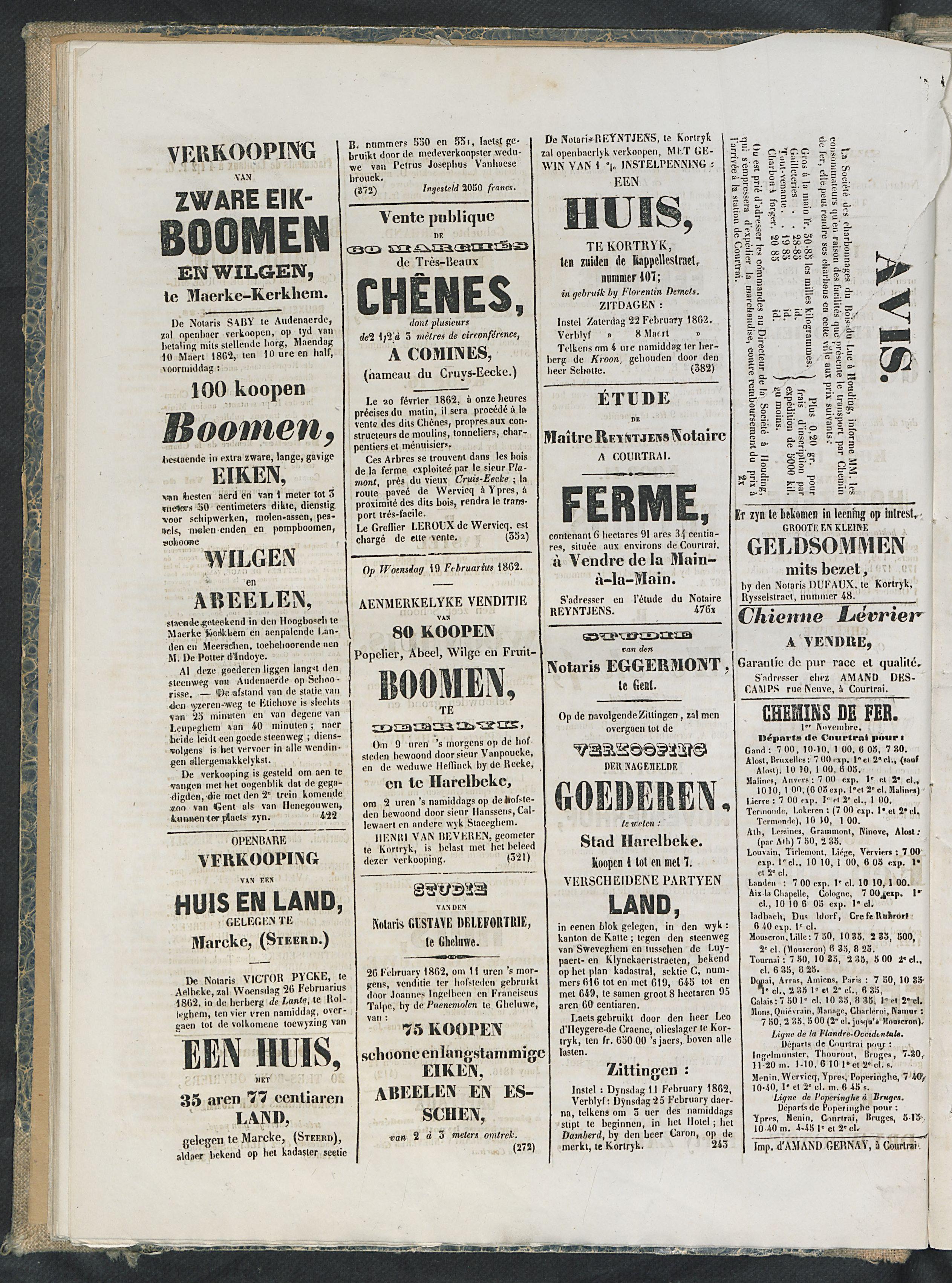 L'echo De Courtrai 1862-02-19 p4