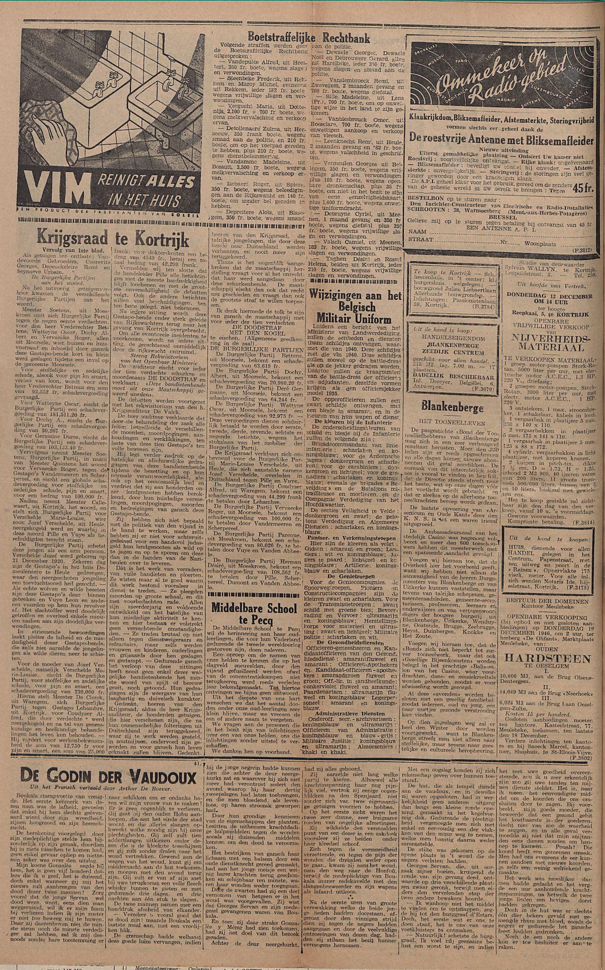 Kortrijksch Handelsblad 10 december 1946 Nr99 p4