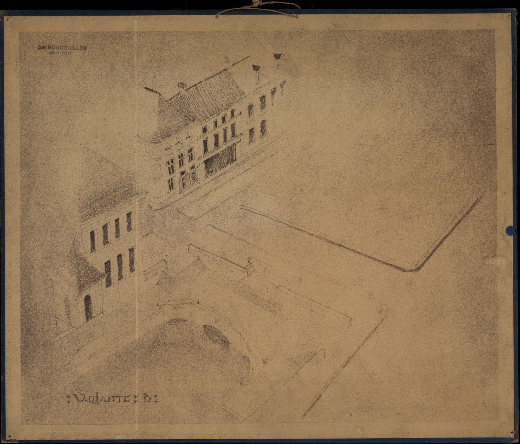 Plattegronden van ontwerpen en afbeeldingen van de omgeving van de Broel en de Leiebrug te Kortrijk, opgemaakt door J.J. Boucquillon, 1941