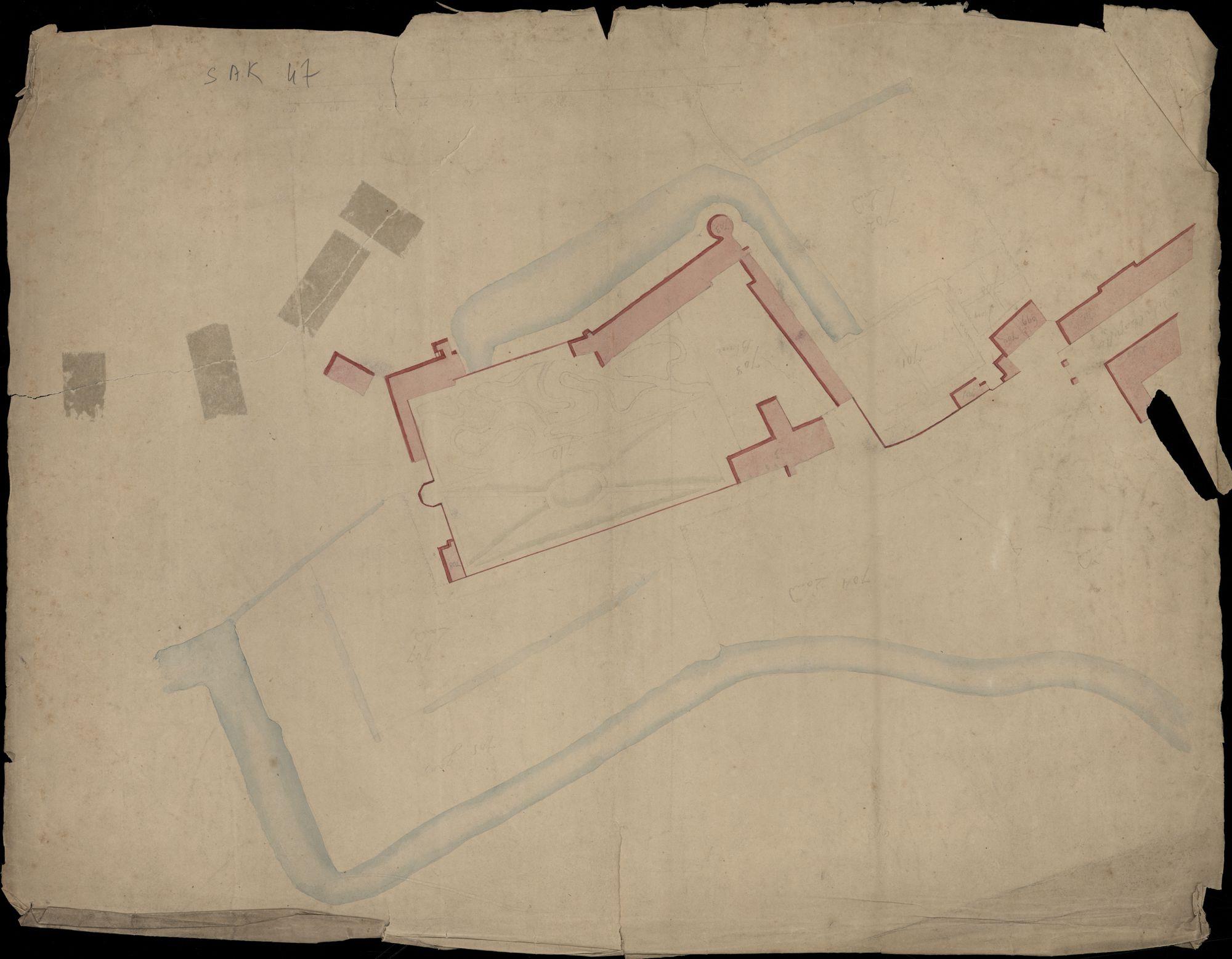 Plattegrond van een deel van de vroegere vestingen van de stad Kortrijk, 19de eeuw