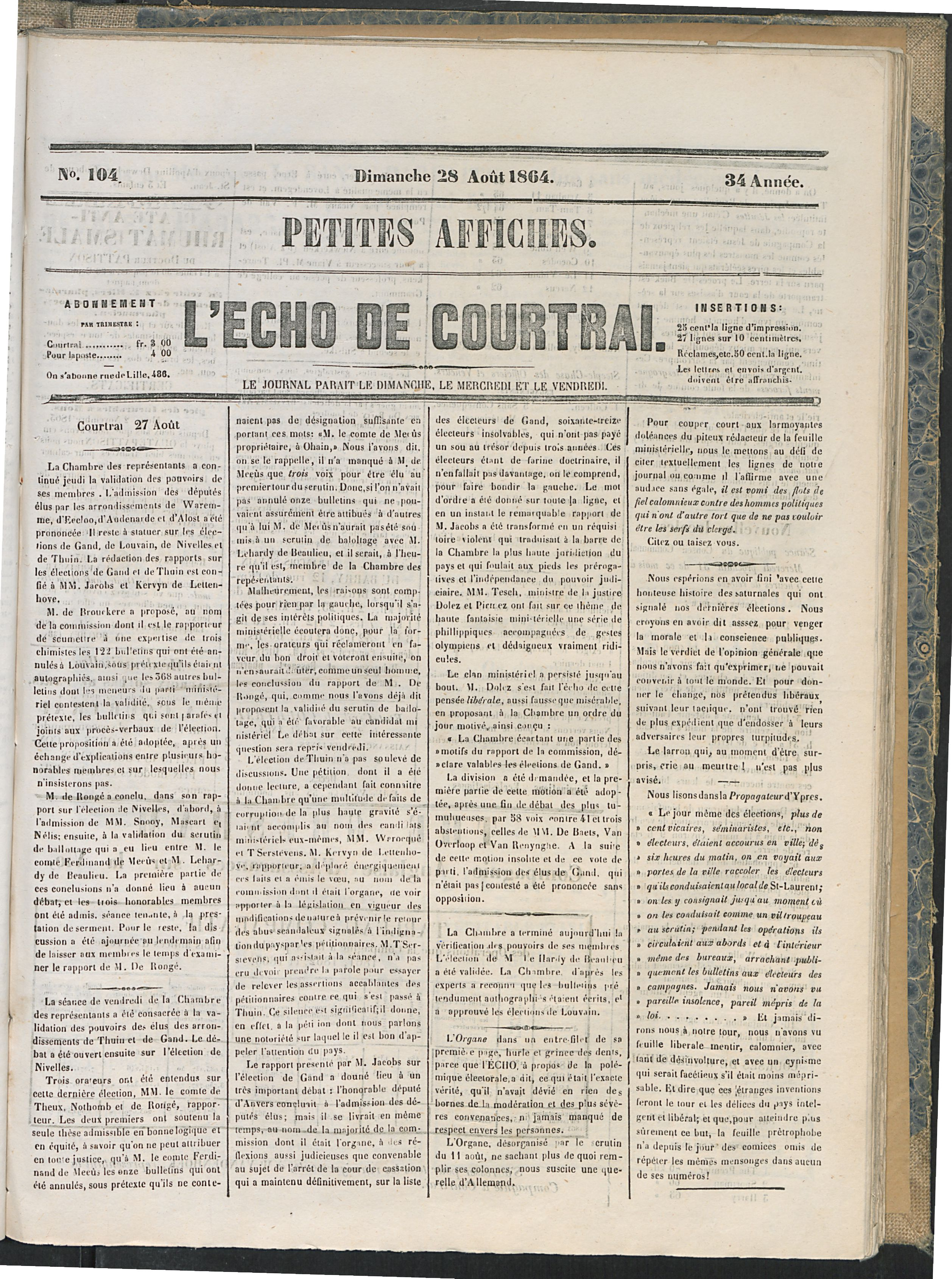 L'echo De Courtrai 1864-08-28 p1