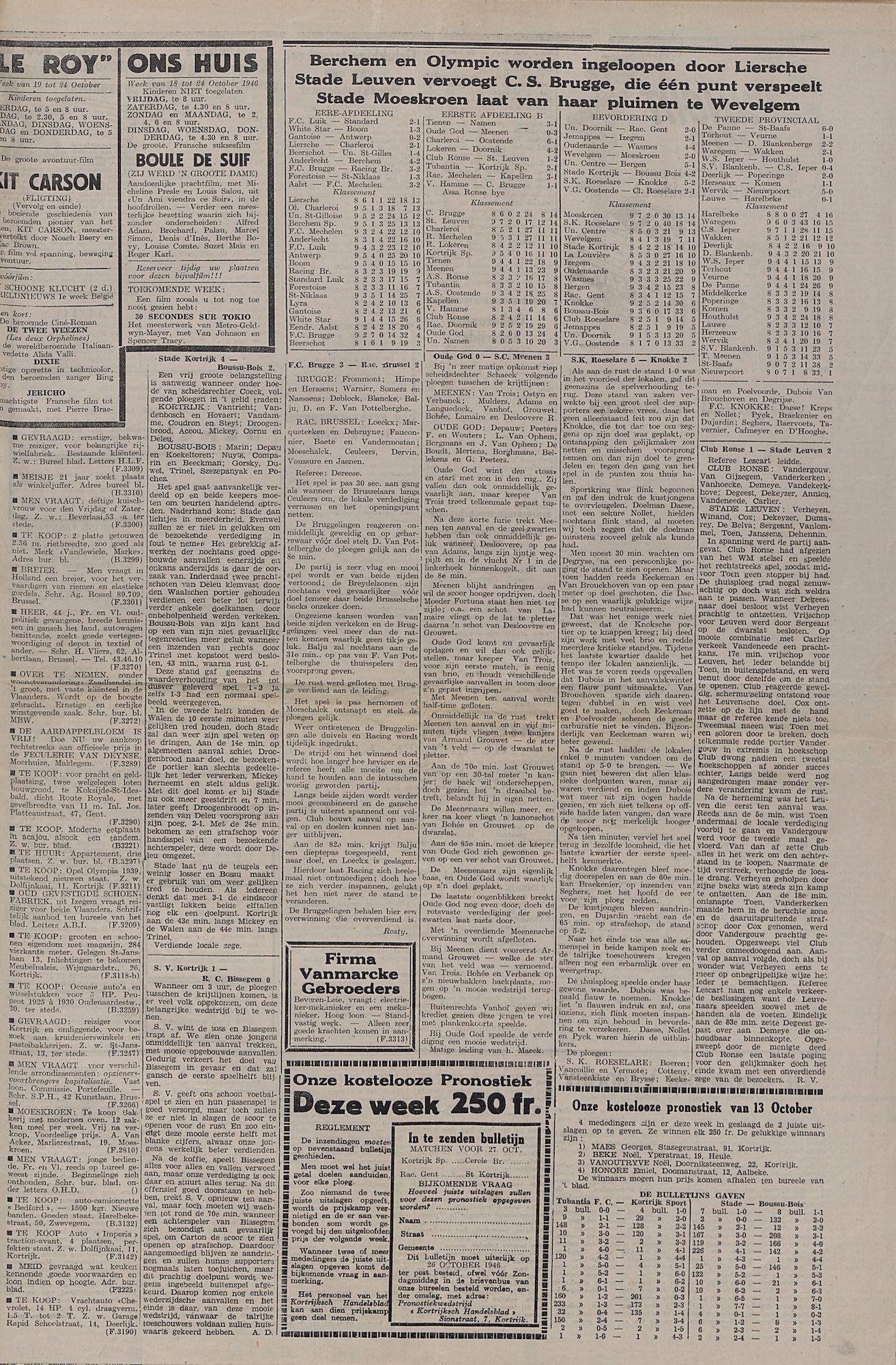 Kortrijksch Handelsblad 22 oktober 1946 Nr85 p3