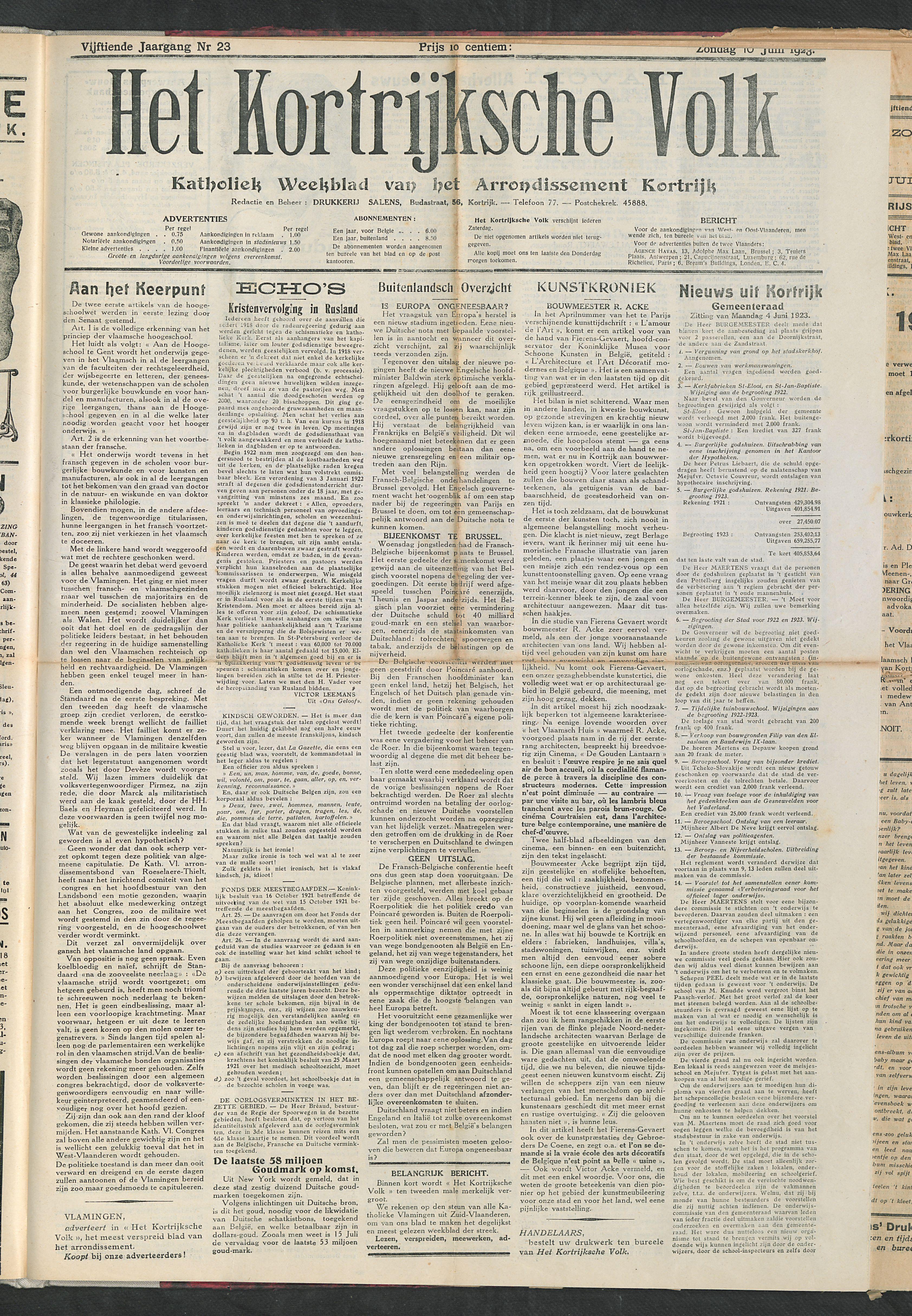 Het Kortrijksche Volk 1923-06-10 p1