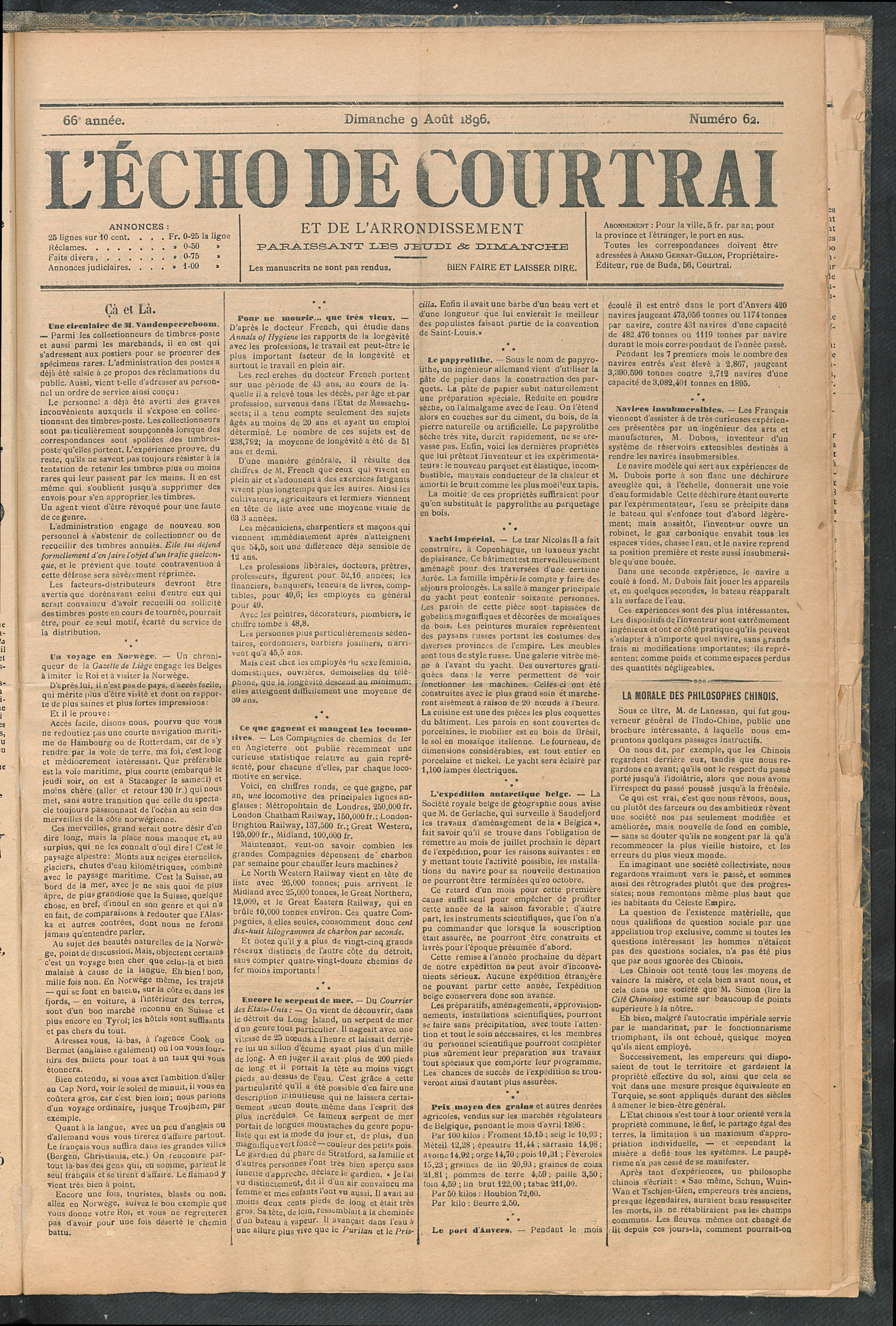 L'echo De Courtrai 1896-08-09 p1