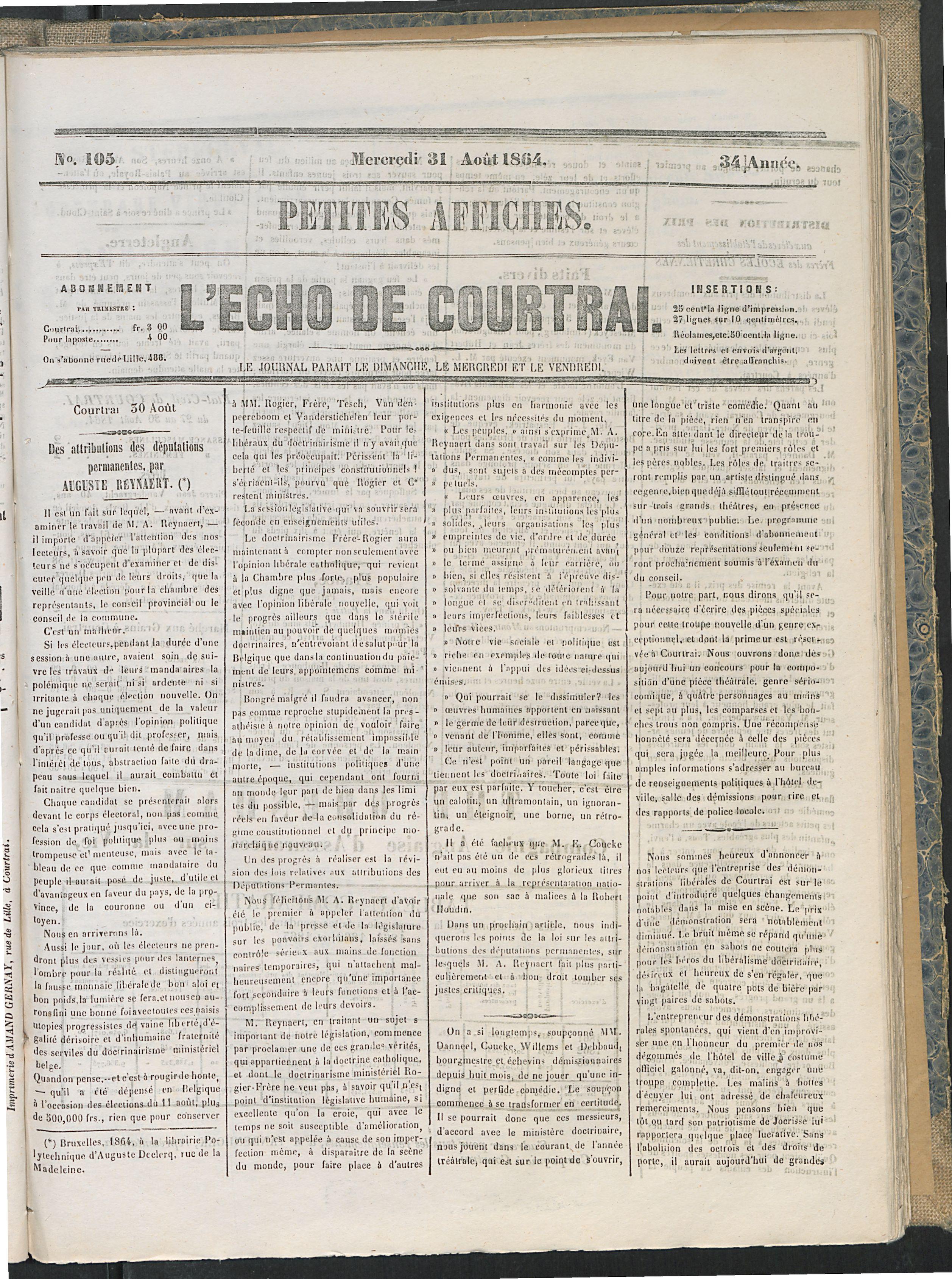 L'echo De Courtrai 1864-08-31 p1