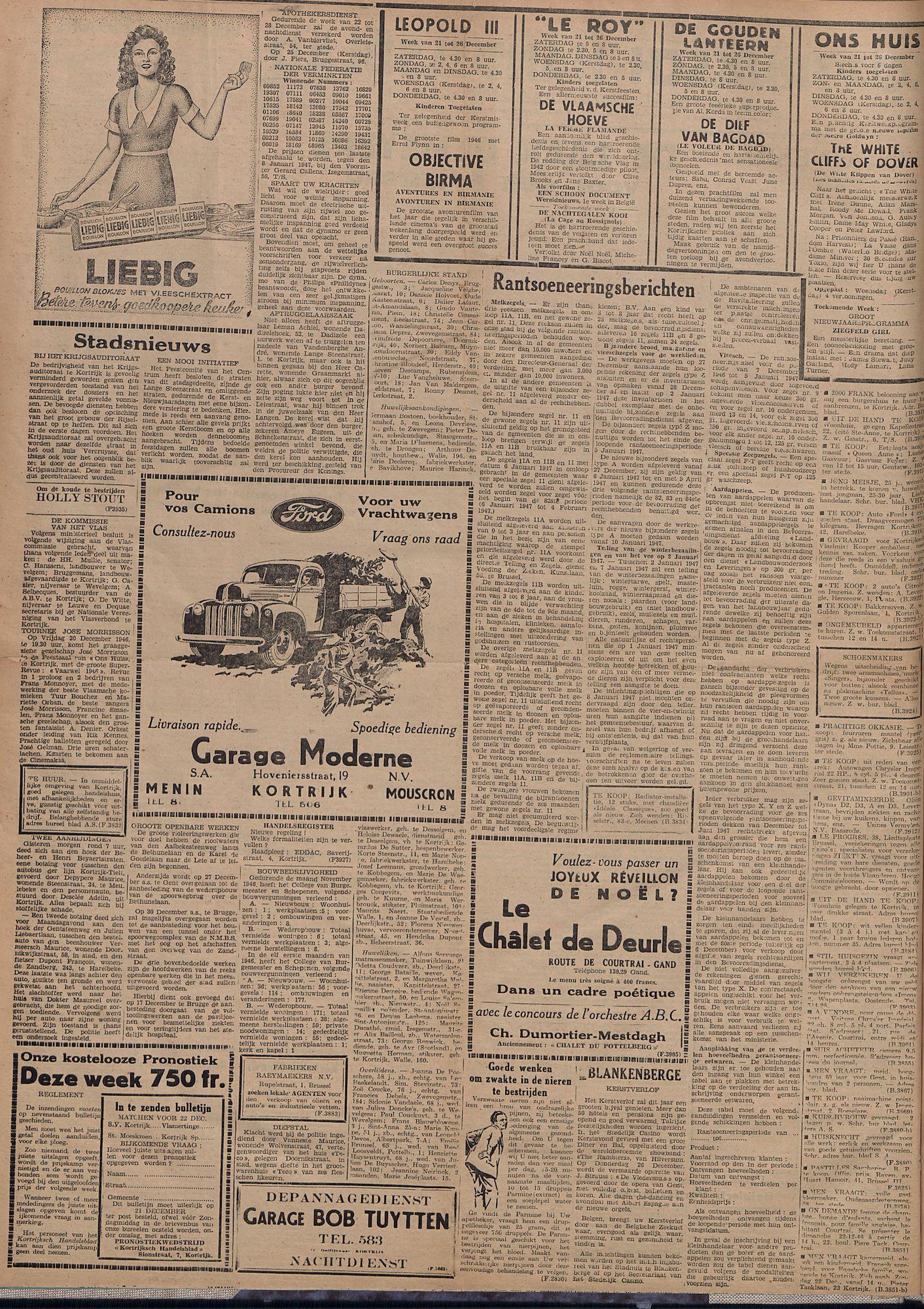 Kortrijksch Handelsblad 20 december 1946 Nr102 p2
