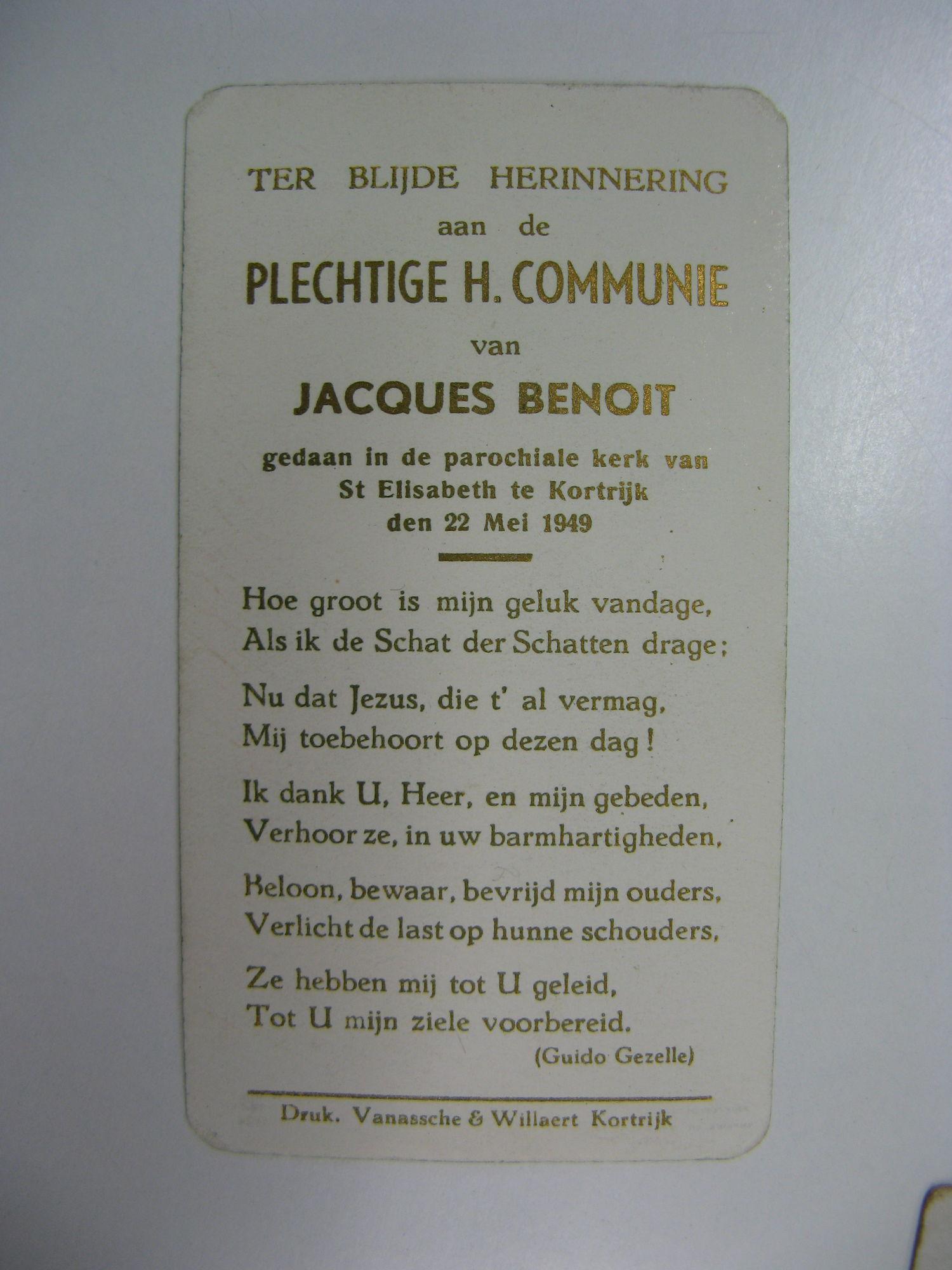 Bidprentje Plechtige Communie 1949