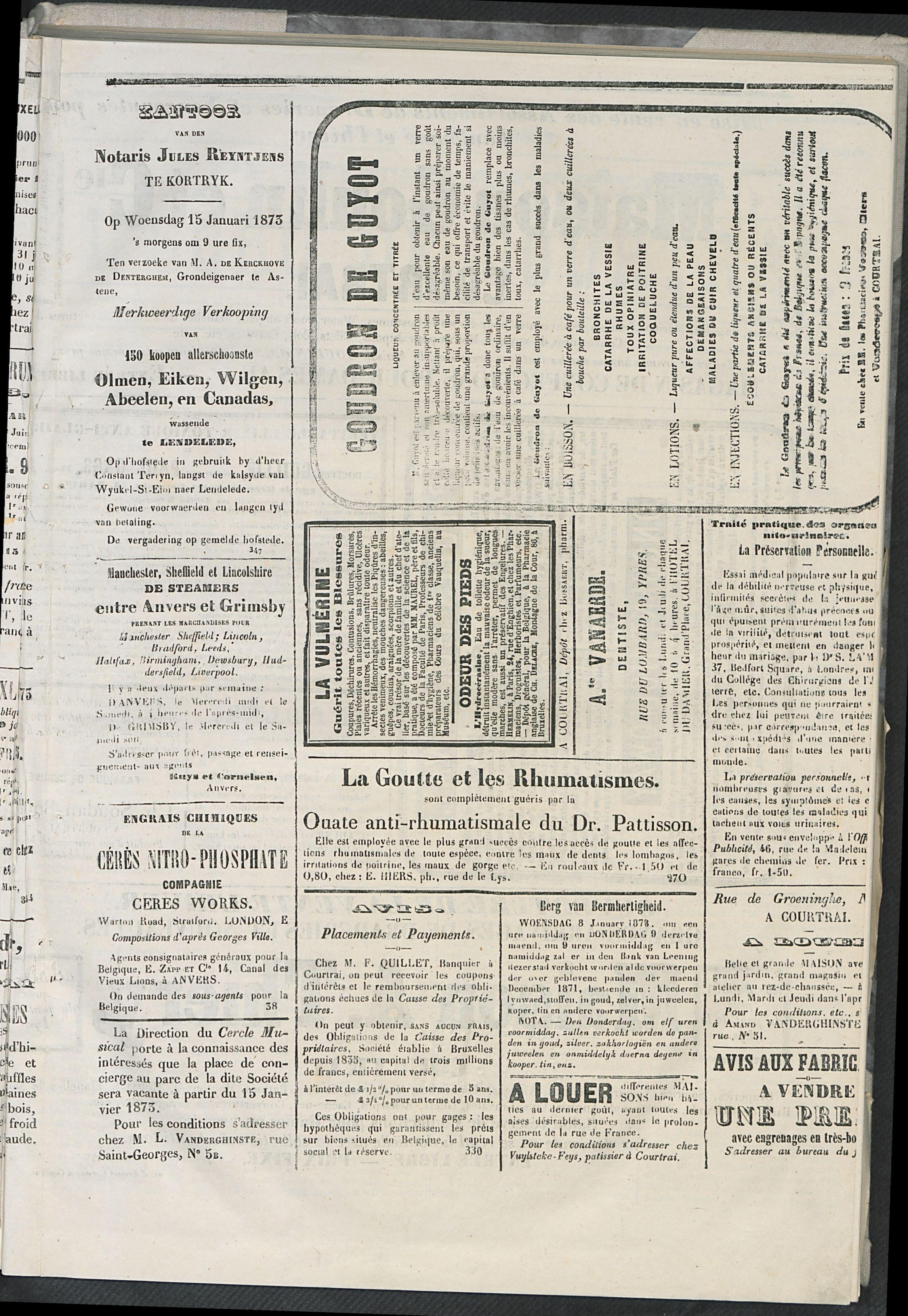 L'echo De Courtrai 1873-01-01 p3