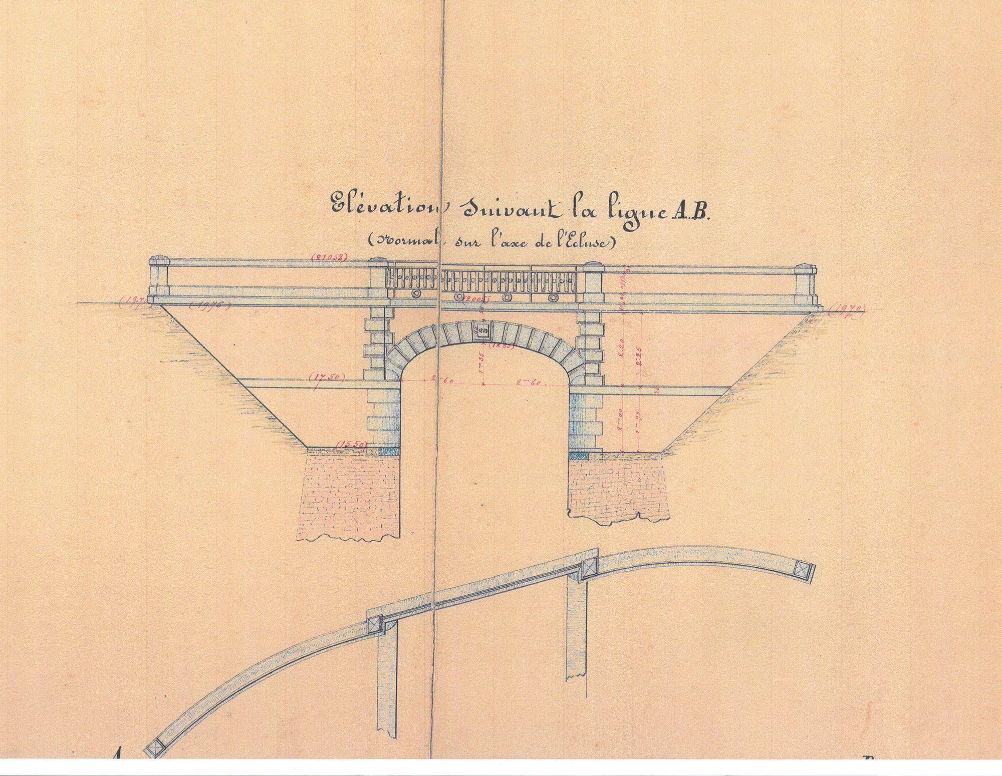 Brug aan Sluis van kanaal Bossuit.- Kortrijk 1859