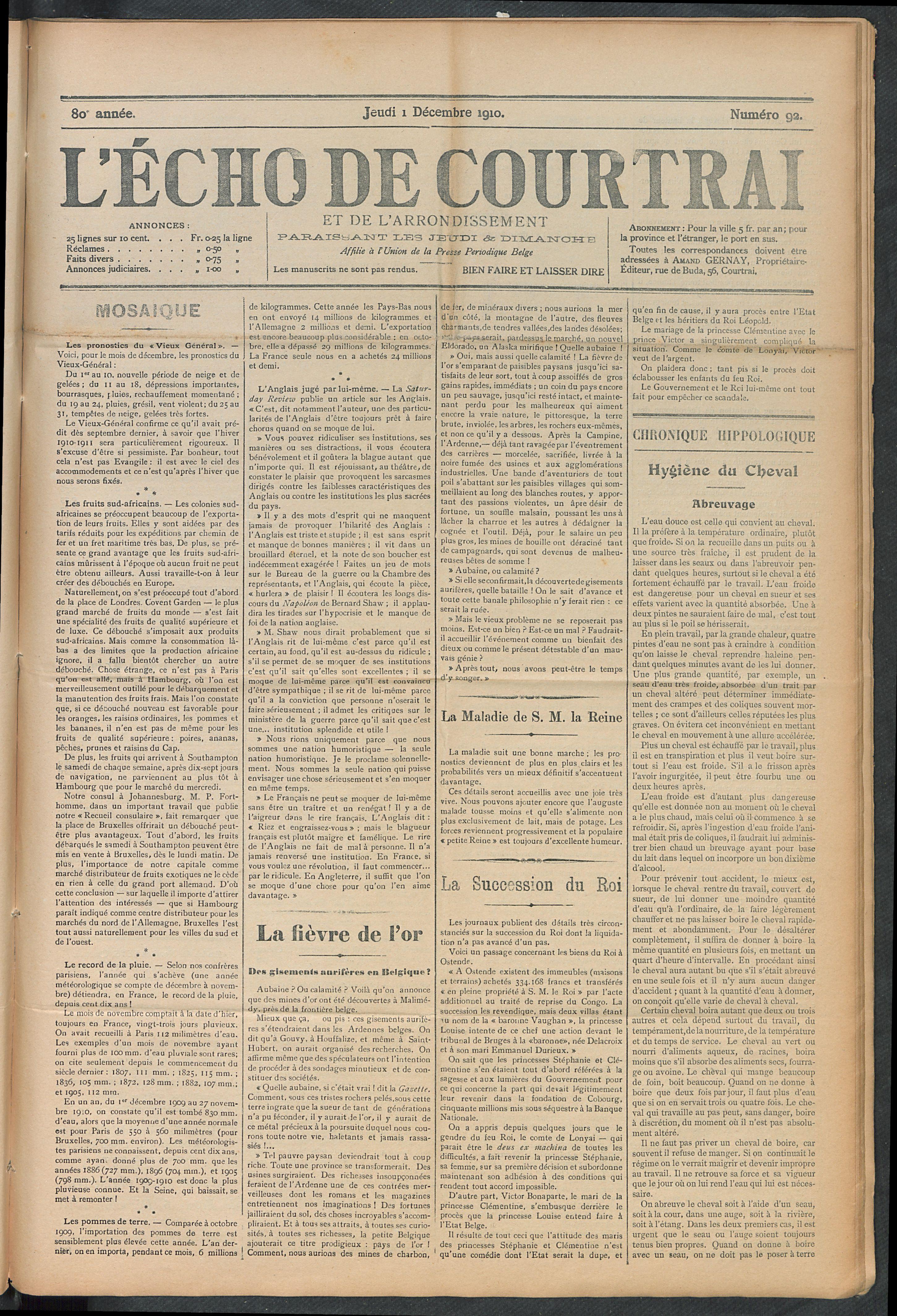 L'echo De Courtrai 1910-12-01 p1