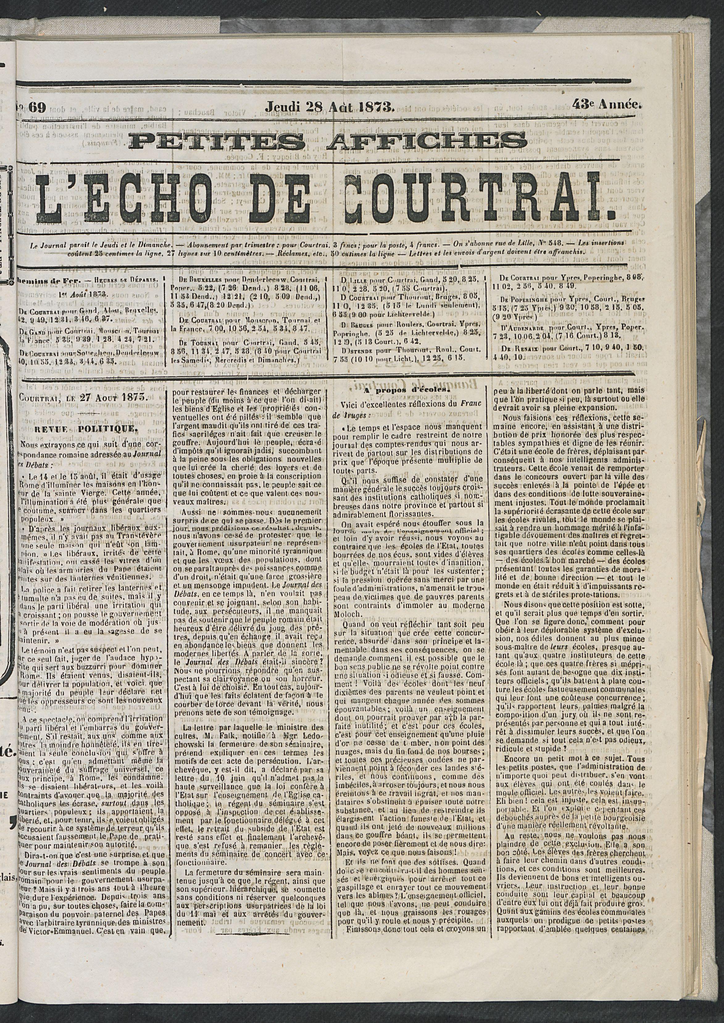 L'echo De Courtrai 1873-08-28 p1
