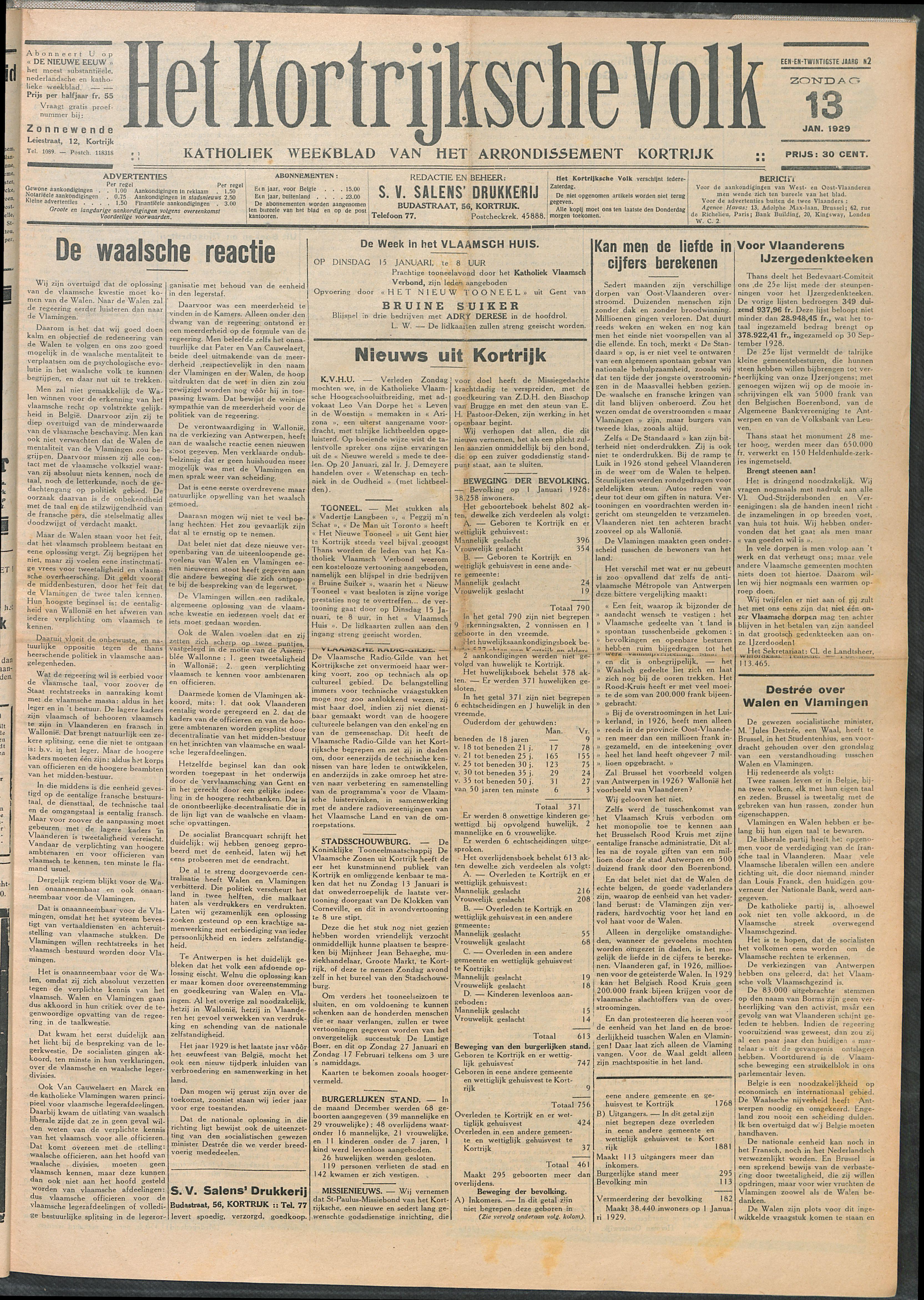 Het Kortrijksche Volk 1929-01-13 p1