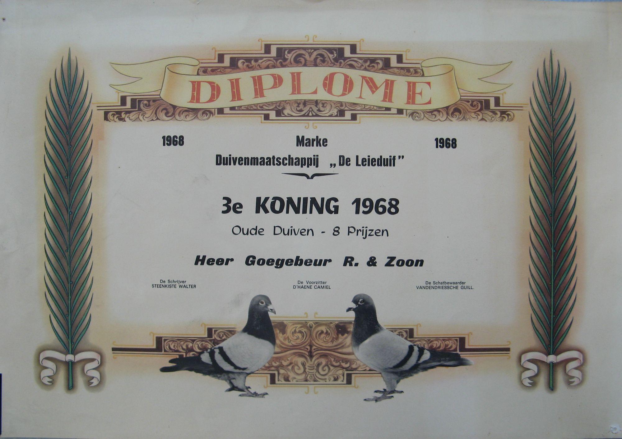 Prijsduif uit 1968