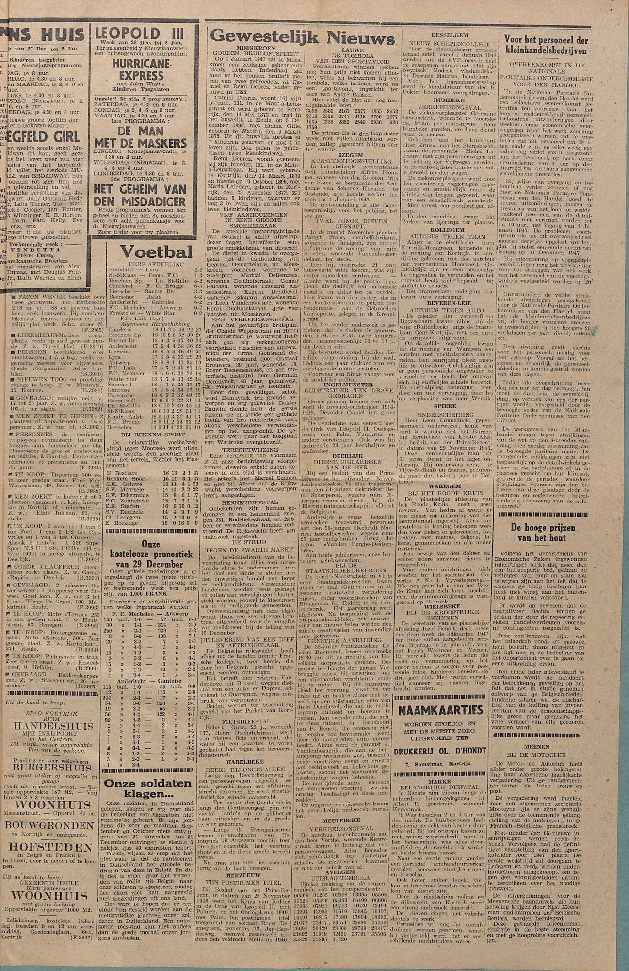 Kortrijksch Handelsblad 31 december 1946 Nr105 p3