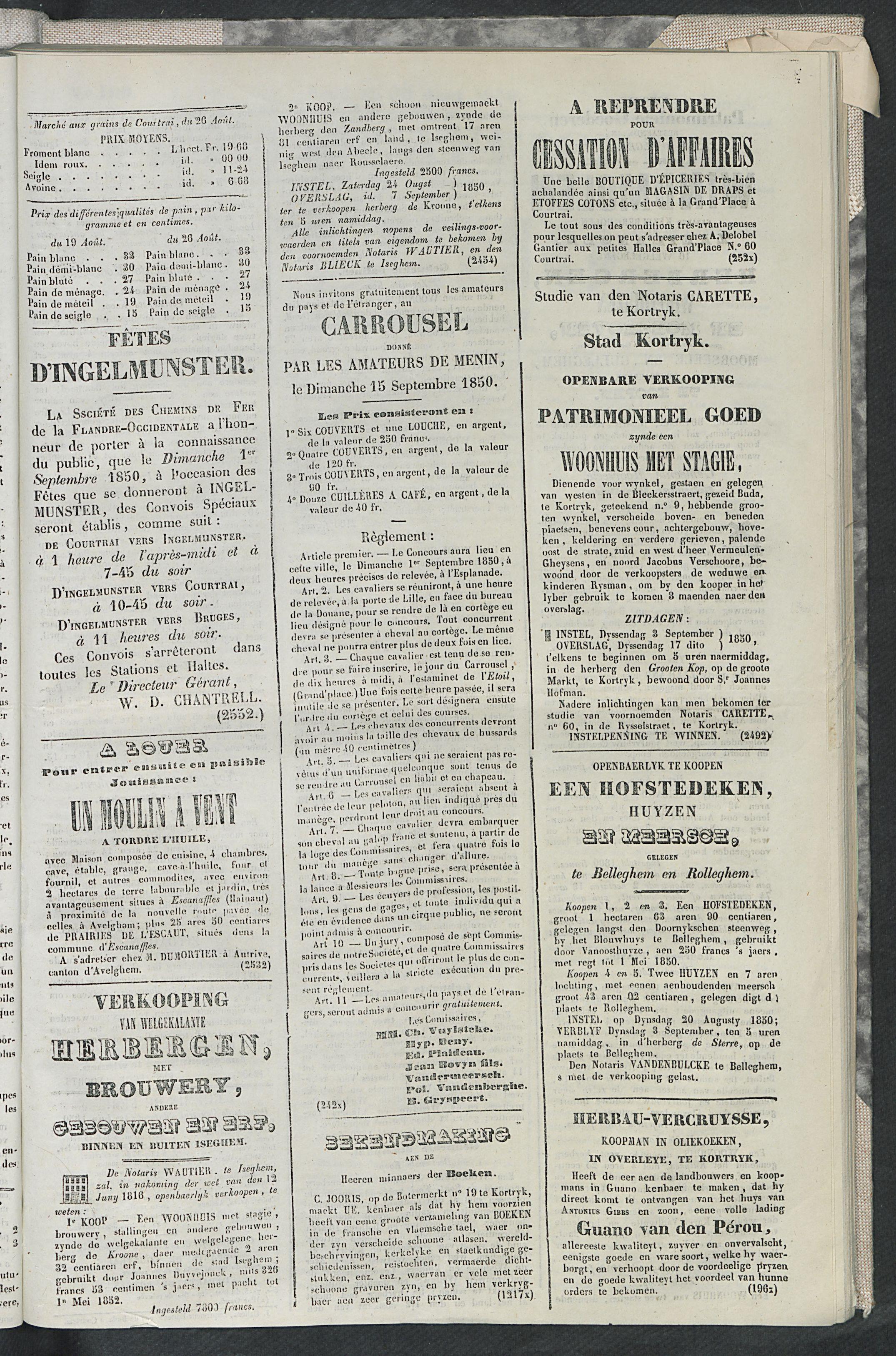 L'echo De Courtrai 1850-08-28 p3