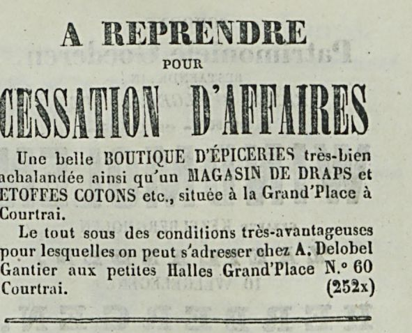 CESSATION D'AFFAIRES