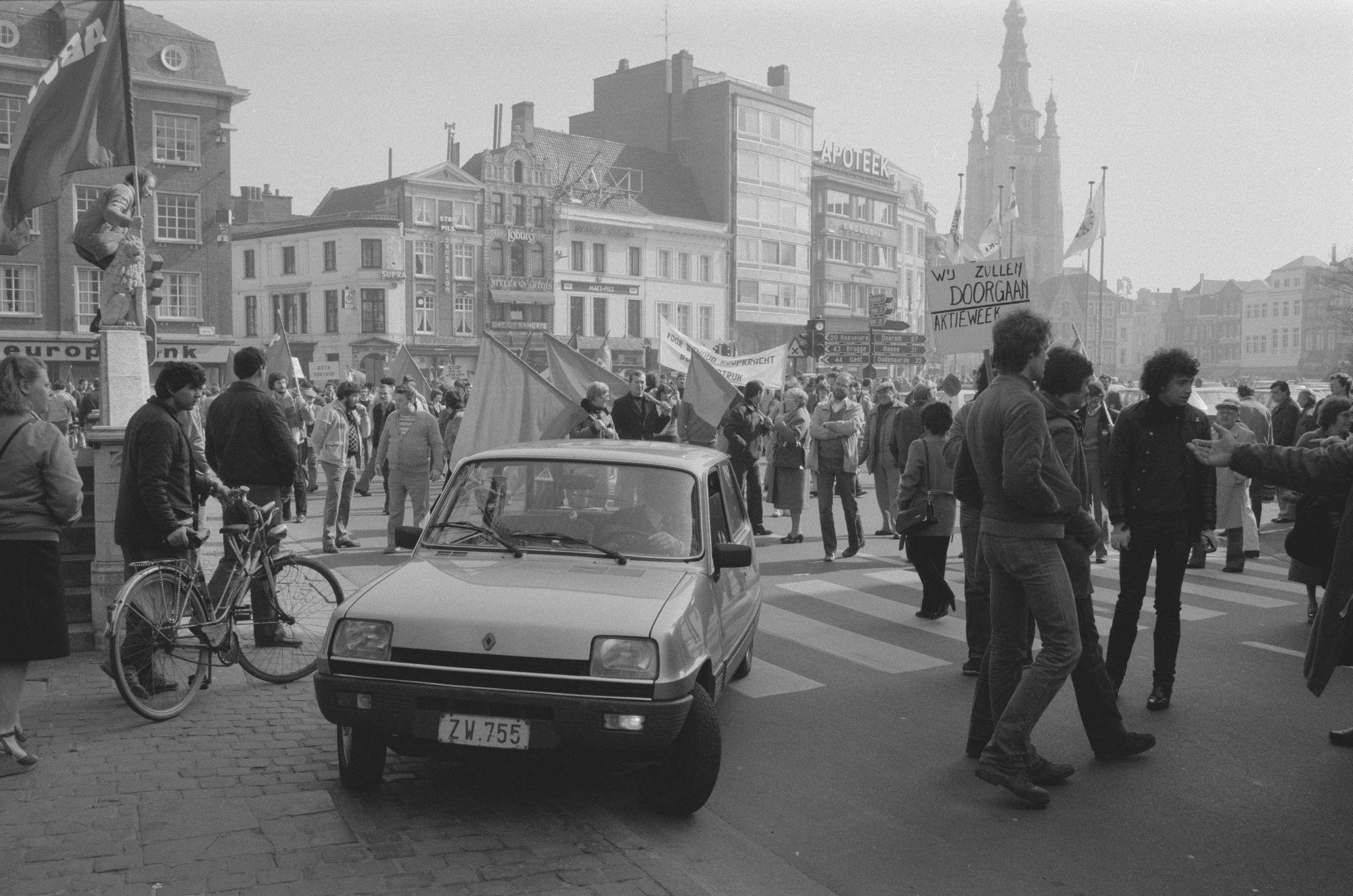 Betoging BBTK Kortrijk in 1982